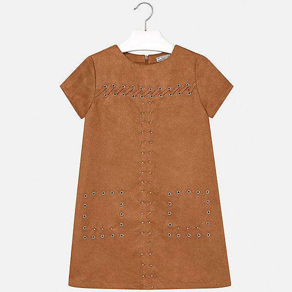 Платье для девочки MayoralОсенне-зимние платья и сарафаны<br>Платье для девочки Mayoral (Майорал) от известного испанского бренда Mayoral. Каштановое платье выполнено из искусственной замши. Изделие выполнено в чуть расклешенном силуэте, имеется круглая горловина, короткий рукав, сзади потайная молния. Передняя часть платья оформлена металлическими люверсами, которые расположены в форме квадратов на месте карманов, также по верхней полочке имеются люверсы с продетой лентой из искусственной замши. Каштановое платье из искусственной замши может стать эффектным элементом праздничной одежды. <br><br>Дополнительная информация:<br><br>- Предназначение: праздничная одежда<br>- Цвет: каштановый<br>- Пол: для девочки<br>- Состав: 85% полиэстер; подклад – 100% полиэстер<br>- Сезон: весна-лето<br>- Особенности ухода: стирка при температуре 30 градусов, глажение, допускается химическая чистка<br><br>Подробнее:<br><br>• Для детей в возрасте: от 8 лет и до 16 лет<br>• Страна производитель: Китай<br>• Торговый бренд: Mayoral<br><br>Платье для девочки Mayoral (Майорал) можно купить в нашем интернет-магазине.<br><br>Ширина мм: 236<br>Глубина мм: 16<br>Высота мм: 184<br>Вес г: 177<br>Цвет: коричневый<br>Возраст от месяцев: 144<br>Возраст до месяцев: 156<br>Пол: Женский<br>Возраст: Детский<br>Размер: 152/158,158/164,128/134,134/140,164/170,146/152<br>SKU: 4847577