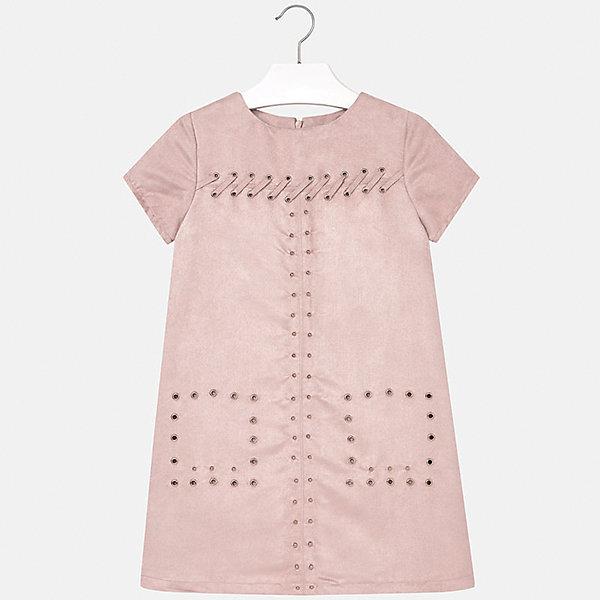 Платье для девочки MayoralОсенне-зимние платья и сарафаны<br>Платье для девочки Mayoral (Майорал) от известного испанского бренда Mayoral. Платье светло бежевого цвета выполнено из искусственной замши. Изделие выполнено в чуть расклешенном силуэте, имеется круглая горловина, короткий рукав, сзади потайная молния. Передняя часть платья оформлена металлическими люверсами, которые расположены в форме квадратов на месте карманов, также по верхней полочке имеются люверсы с продетой лентой из искусственной замши. Платье из искусственной замши может стать эффектным элементом праздничной одежды. <br><br>Дополнительная информация:<br><br>- Предназначение: праздничная одежда<br>- Цвет: светло бежевый<br>- Пол: для девочки<br>- Состав: 85% полиэстер; подклад – 100% полиэстер<br>- Сезон: весна-лето<br>- Особенности ухода: стирка при температуре 30 градусов, глажение, допускается химическая чистка<br><br>Подробнее:<br><br>• Для детей в возрасте: от 8 лет и до 16 лет<br>• Страна производитель: Китай<br>• Торговый бренд: Mayoral<br><br>Платье для девочки Mayoral (Майорал) можно купить в нашем интернет-магазине.<br><br>Ширина мм: 236<br>Глубина мм: 16<br>Высота мм: 184<br>Вес г: 177<br>Цвет: бежевый<br>Возраст от месяцев: 96<br>Возраст до месяцев: 108<br>Пол: Женский<br>Возраст: Детский<br>Размер: 128/134,164/170,146/152,134/140,152/158,158/164<br>SKU: 4847584