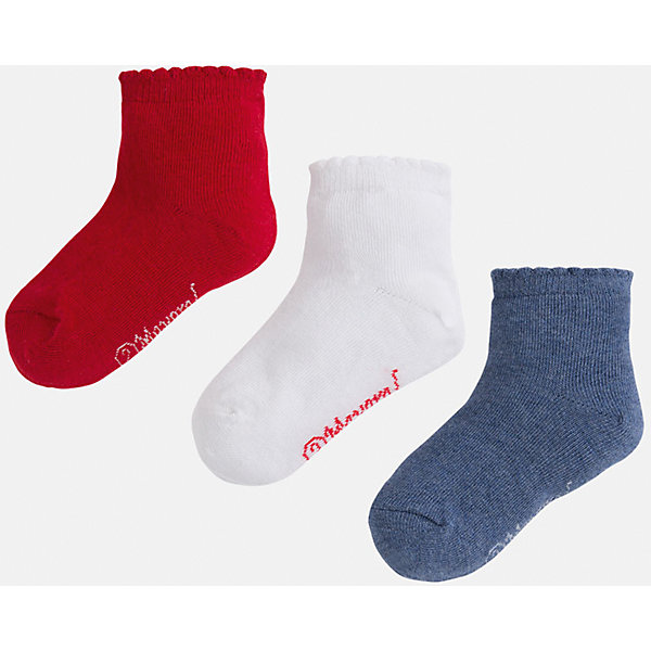 Носки,3 пары для девочки MayoralНоски<br>Комплект из трех пар носков для девочки от популярного испанского бренда Mayoral(Майорал). Все носки изготовлены из качественных прочных материалов, приятных телу. <br><br>Дополнительная информация:<br>Состав: 75% хлопок, 23% полиэстер, 2% эластан<br>Цвет: красный/белый/синий<br>Носки для девочки Mayoral(Майорал) можно купить в нашем интернет-магазине.<br><br>Ширина мм: 87<br>Глубина мм: 10<br>Высота мм: 105<br>Вес г: 115<br>Цвет: серый<br>Возраст от месяцев: 60<br>Возраст до месяцев: 72<br>Пол: Женский<br>Возраст: Детский<br>Размер: 27,29,32,28<br>SKU: 4847713
