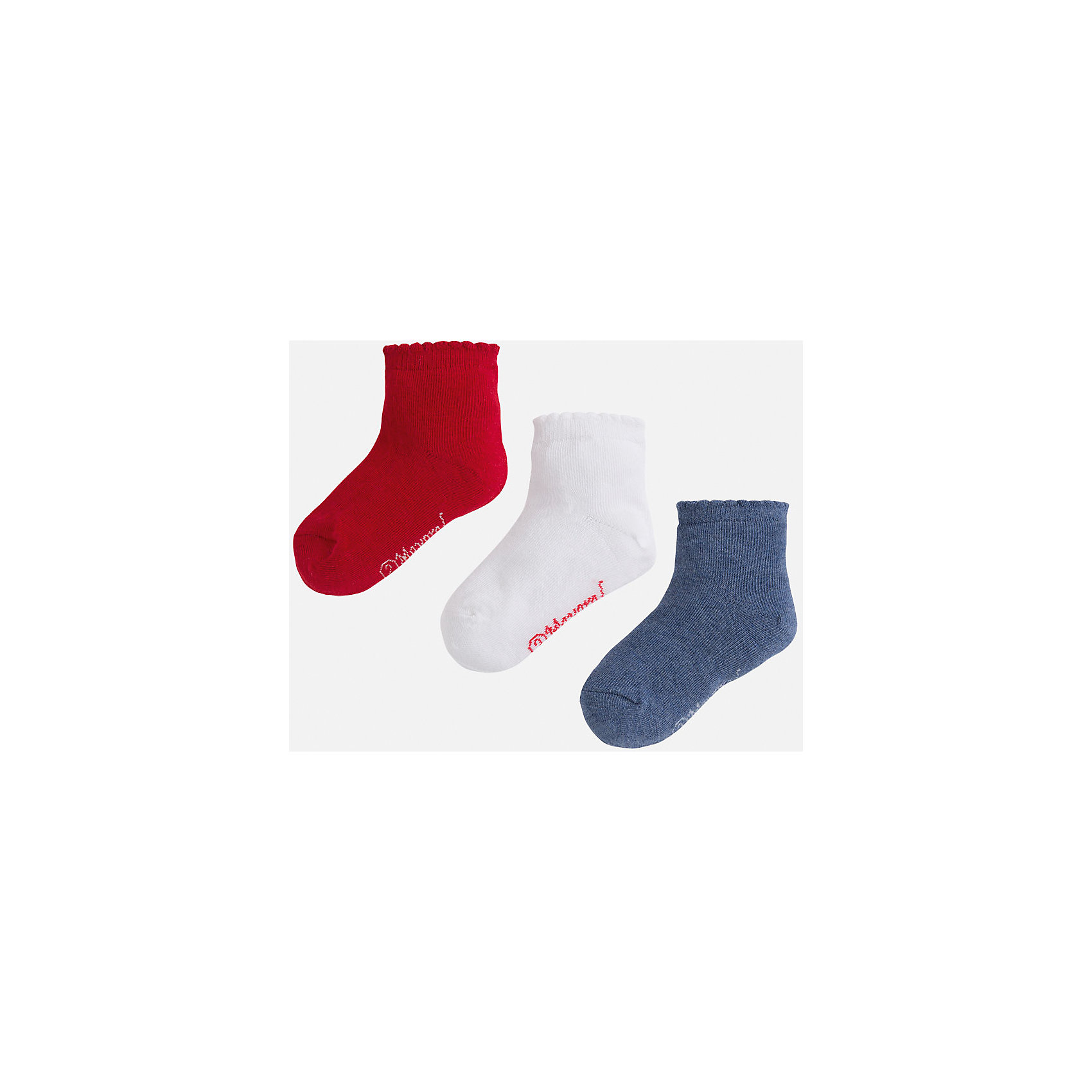 Носки,3 пары для девочки MayoralКомплект из трех пар носков для девочки от популярного испанского бренда Mayoral(Майорал). Все носки изготовлены из качественных прочных материалов, приятных телу. <br><br>Дополнительная информация:<br>Состав: 75% хлопок, 23% полиэстер, 2% эластан<br>Цвет: красный/белый/синий<br>Носки для девочки Mayoral(Майорал) можно купить в нашем интернет-магазине.<br><br>Ширина мм: 87<br>Глубина мм: 10<br>Высота мм: 105<br>Вес г: 115<br>Цвет: серый<br>Возраст от месяцев: 96<br>Возраст до месяцев: 108<br>Пол: Женский<br>Возраст: Детский<br>Размер: 32,29,28,27<br>SKU: 4847713