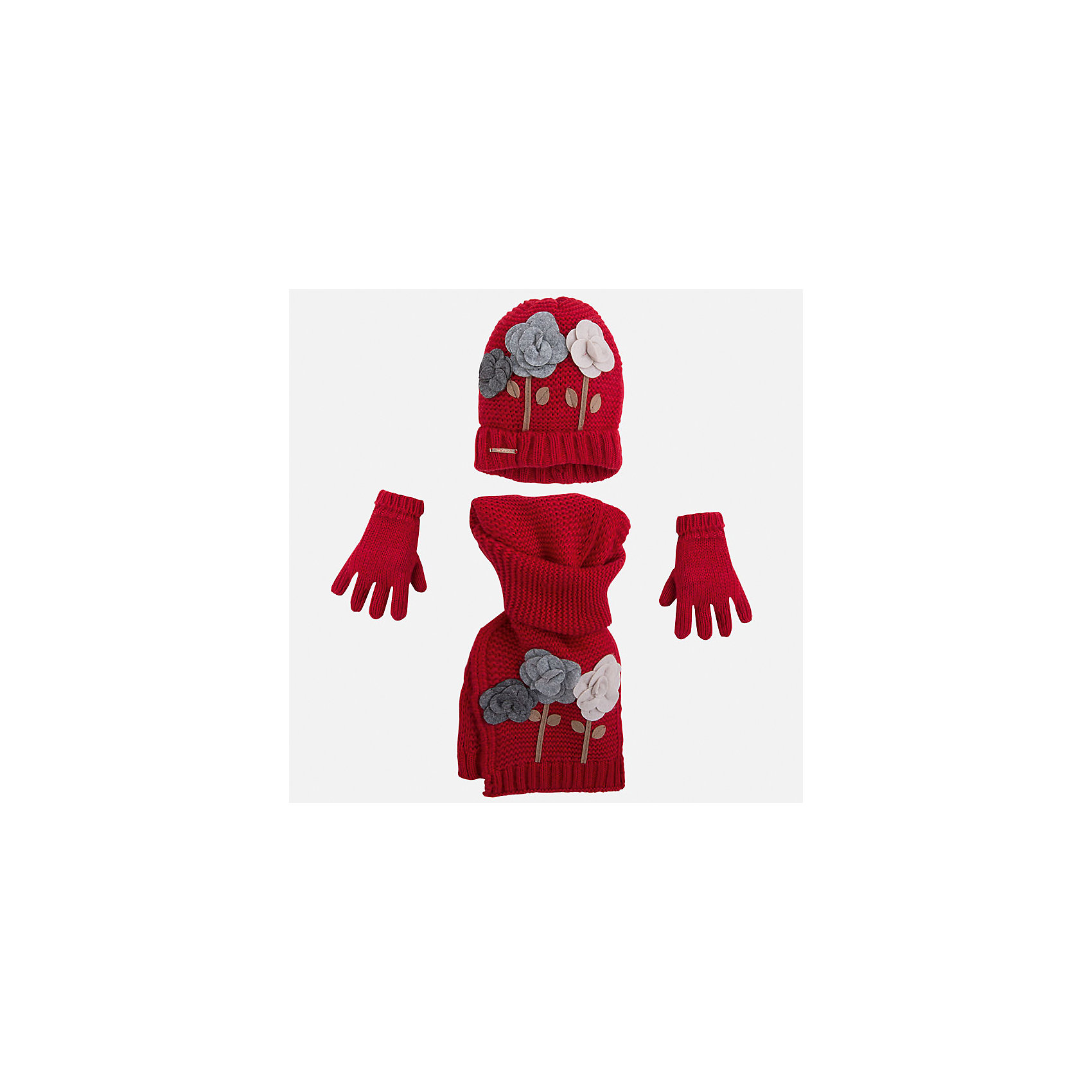 Комплект:шапка, шарф и перчатки для девочки MayoralКомплект из шапки, шарфа и перчаток для девочки от известного испанского бренда Mayoral(Майорал). Все изделия изготовлены из качественных гипоаллергенных тканей, приятных на ощупь. Шапка и шарф декорированы аппликацией цветы. С этим комплектом девочке будет очень тепло и комфортно!<br><br>Дополнительная информация:<br>Состав: 87% акрил, 13% полиамид<br>Цвет: красный<br>Комплект из шарфа, шапки и перчаток Mayoral(Майорал) можно приобрести в нашем интернет-магазине.<br><br>Ширина мм: 89<br>Глубина мм: 117<br>Высота мм: 44<br>Вес г: 155<br>Цвет: красный<br>Возраст от месяцев: 24<br>Возраст до месяцев: 48<br>Пол: Женский<br>Возраст: Детский<br>Размер: 48-50,52-54,54-56<br>SKU: 4847766