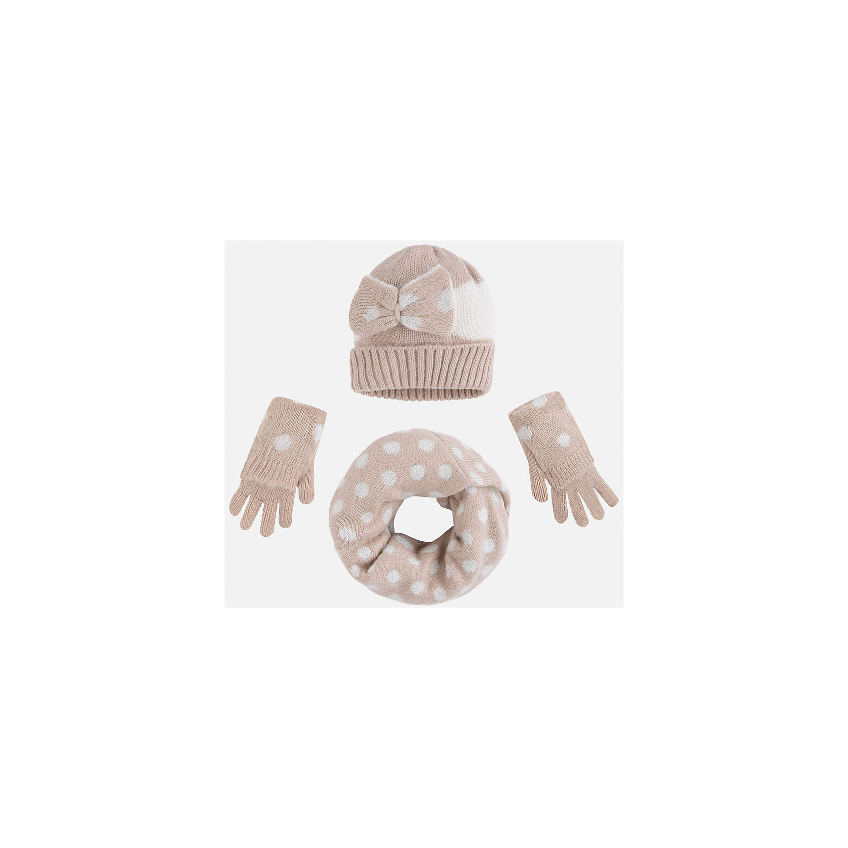 Комплект:шапка, шарф и перчатки для девочки MayoralКомплект из шапки, шарфа и перчаток от популярного испанского бренда Mayoral(Майорал). Изделия изготовлены из качественных гипоаллергенных материалов, приятных на ощупь. Имеют контрастную расцветку, шапка украшена декоративным бантом. Такой комплект поднимет настроение и сделает прогулки максимально комфортными!<br><br>Дополнительная информация:<br>Состав. Шапка: 100% акрил. Шарф: 96% акрил, 4% металлическое волокно(подкладка 100% акрил). Перчатки: 97% акрил, 3% металлическое волокно<br>Цвет: бежевый/белый<br>Комплект из шапки, шарфа и перчаток Mayoral(Майорал) вы можете приобрести в нашем интернет-магазине.<br><br>Ширина мм: 89<br>Глубина мм: 117<br>Высота мм: 44<br>Вес г: 155<br>Цвет: бежевый<br>Возраст от месяцев: 24<br>Возраст до месяцев: 48<br>Пол: Женский<br>Возраст: Детский<br>Размер: 48-50,54-56,52-54<br>SKU: 4847782