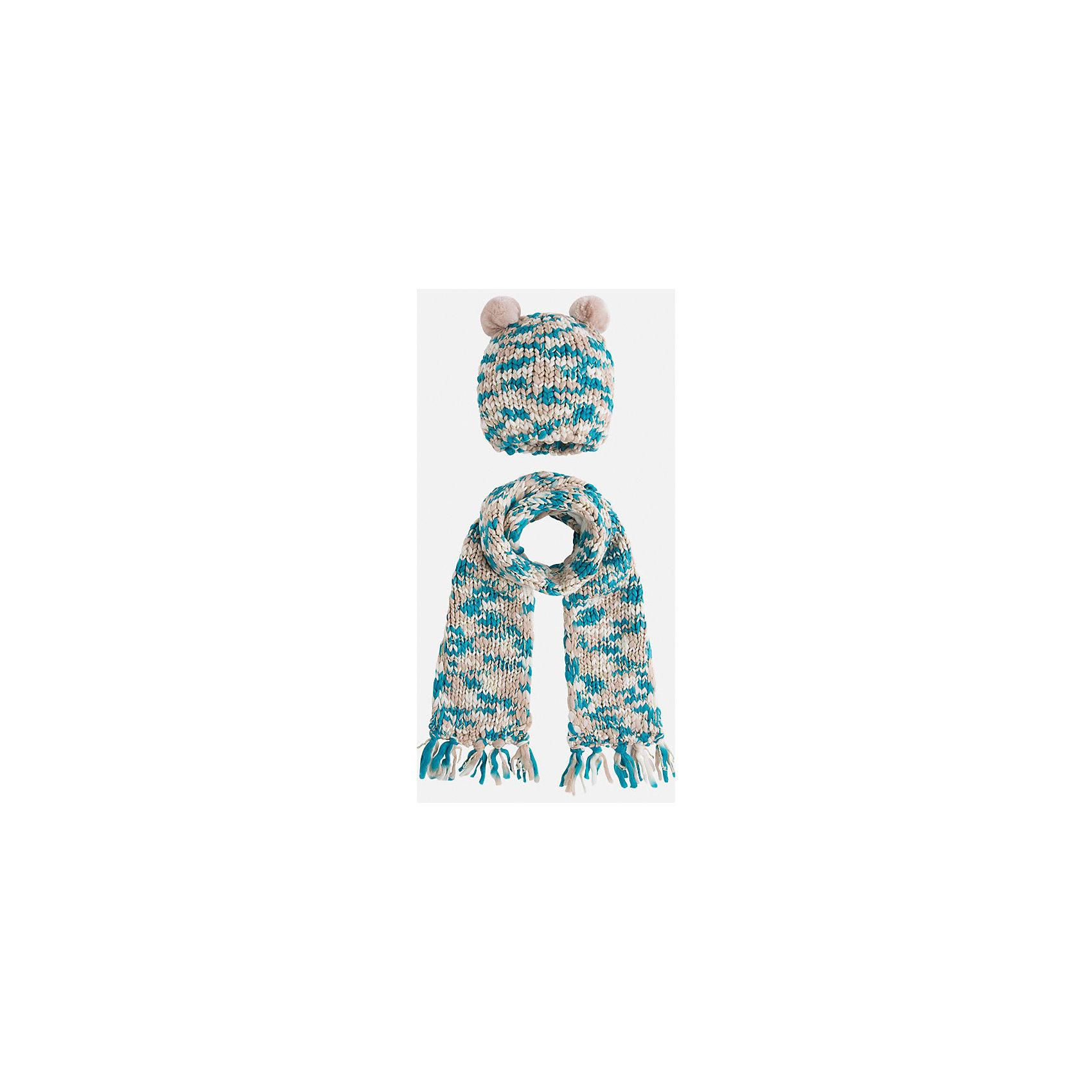 Комплект:шапка и шарф для девочки MayoralДемисезонные<br>Комплект: шапка и шарф для девочки Mayoral от известного испанского бренда Mayoral. Вязаный комплект выполнен из акриловой пряжи с добавлением люрексовой нити золотистого цвета. Комплект состоит из шапки и шарфа, связанных крупной вязкой. Шапка имеет классическую форму, сверху по бокам имеются небольшие помпоны из бежевой пряжи, по краям шарфа – кисти, выполненные из пряжи. <br><br>Дополнительная информация:<br><br>- Предназначение: повседневная одежда<br>- Комплектация: шапка, шарф<br>- Цвет: бежевый, белый, бирюзовый<br>- Пол: для девочки<br>- Состав: 90% акрил, 10% металлизированная нить<br>- Сезон: осень-зима-весна<br>- Особенности ухода: стирка при температуре 30 градусов, разрешается химическая чистка, глажение <br><br>Подробнее:<br><br>• Для детей в возрасте: от 2 лет и до 9 лет<br>• Страна производитель: Китай<br>• Торговый бренд: Mayoral<br><br>Комплект: шапка и шарф для девочки Mayoral (Майорал) можно купить в нашем интернет-магазине.<br><br>Ширина мм: 89<br>Глубина мм: 117<br>Высота мм: 44<br>Вес г: 155<br>Цвет: серый<br>Возраст от месяцев: 48<br>Возраст до месяцев: 72<br>Пол: Женский<br>Возраст: Детский<br>Размер: 52-54,48-50,54-56<br>SKU: 4847786