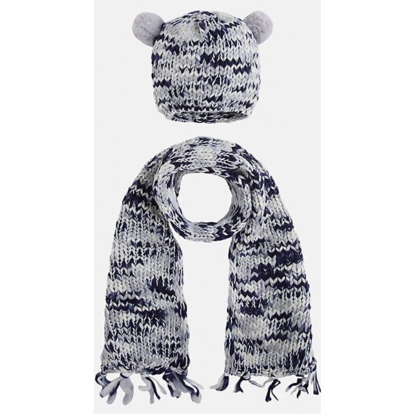 Комплект:шапка и шарф для девочки MayoralГоловные уборы<br>Комплект: шапка и шарф для девочки Mayoral от известного испанского бренда Mayoral. Вязаный комплект выполнен из акриловой пряжи с добавлением люрексовой нити серебристого цвета. Комплект состоит из шапки и шарфа, связанных крупной вязкой. Шапка имеет классическую форму, сверху по бокам имеются небольшие помпоны из серой пряжи, по краям шарфа – кисти, выполненные из пряжи. <br><br>Дополнительная информация:<br><br>- Предназначение: повседневная одежда<br>- Комплектация: шапка, шарф<br>- Цвет: серый, белый, темно-синий<br>- Пол: для девочки<br>- Состав: 90% акрил, 10% металлизированная нить<br>- Сезон: осень-зима-весна<br>- Особенности ухода: стирка при температуре 30 градусов, разрешается химическая чистка, глажение <br><br>Подробнее:<br><br>• Для детей в возрасте: от 2 лет и до 9 лет<br>• Страна производитель: Китай<br>• Торговый бренд: Mayoral<br><br>Комплект: шапка и шарф для девочки Mayoral (Майорал) можно купить в нашем интернет-магазине.<br><br>Ширина мм: 89<br>Глубина мм: 117<br>Высота мм: 44<br>Вес г: 155<br>Цвет: синий<br>Возраст от месяцев: 24<br>Возраст до месяцев: 48<br>Пол: Женский<br>Возраст: Детский<br>Размер: 48-50,52-54,54-56<br>SKU: 4847790