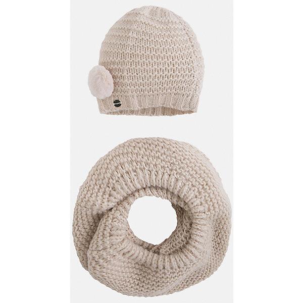 Комплект:шапка и шарф для девочки MayoralШарфы, платки<br>Комплект: шапка и шарф для девочки Mayoral от известного испанского бренда Mayoral. Вязаный комплект выполнен из акриловой пряжи с добавлением полиамида, что обеспечивает высокую износоустойчивость, сохранение формы и цвета даже при длительном использовании. Комплект состоит из шапки и шарфа, связанных крупной вязкой. Шапка имеет классическую форму, сбоку имеется небольшой помпон, выполненный из меха. <br><br>Дополнительная информация:<br><br>- Предназначение: повседневная одежда<br>- Комплектация: шапка, шарф<br>- Цвет: марципан меланжевый<br>- Пол: для девочки<br>- Состав: 87% акрил, 13% полиамид<br>- Сезон: осень-зима-весна<br>- Особенности ухода: стирка при температуре 30 градусов, разрешается химическая чистка, глажение <br><br>Подробнее:<br><br>• Для детей в возрасте: от 2 лет и до 9 лет<br>• Страна производитель: Китай<br>• Торговый бренд: Mayoral<br><br>Комплект: шапка и шарф для девочки Mayoral (Майорал) можно купить в нашем интернет-магазине.<br>Ширина мм: 89; Глубина мм: 117; Высота мм: 44; Вес г: 155; Цвет: бежевый; Возраст от месяцев: 72; Возраст до месяцев: 108; Пол: Женский; Возраст: Детский; Размер: 54-56,48-50,52-54; SKU: 4847794;