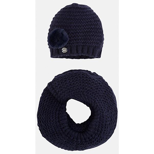 Комплект:шапка и шарф для девочки MayoralГоловные уборы<br>Комплект: шапка и шарф для девочки Mayoral от известного испанского бренда Mayoral. Вязаный комплект выполнен из акриловой пряжи с добавлением полиамида, что обеспечивает высокую износоустойчивость, сохранение формы и цвета даже при длительном использовании. Комплект состоит из шапки и шарфа, связанных крупной вязкой. Шапка имеет классическую форму, сбоку имеется небольшой помпон, выполненный из меха. <br><br>Дополнительная информация:<br><br>- Предназначение: повседневная одежда<br>- Комплектация: шапка, шарф<br>- Цвет: темно-синий<br>- Пол: для девочки<br>- Состав: 87% акрил, 13% полиамид<br>- Сезон: осень-зима-весна<br>- Особенности ухода: стирка при температуре 30 градусов, разрешается химическая чистка, глажение <br><br>Подробнее:<br><br>• Для детей в возрасте: от 2 лет и до 9 лет<br>• Страна производитель: Китай<br>• Торговый бренд: Mayoral<br><br>Комплект: шапка и шарф для девочки Mayoral (Майорал) можно купить в нашем интернет-магазине.<br><br>Ширина мм: 89<br>Глубина мм: 117<br>Высота мм: 44<br>Вес г: 155<br>Цвет: синий<br>Возраст от месяцев: 48<br>Возраст до месяцев: 72<br>Пол: Женский<br>Возраст: Детский<br>Размер: 52-54,54-56,48-50<br>SKU: 4847806