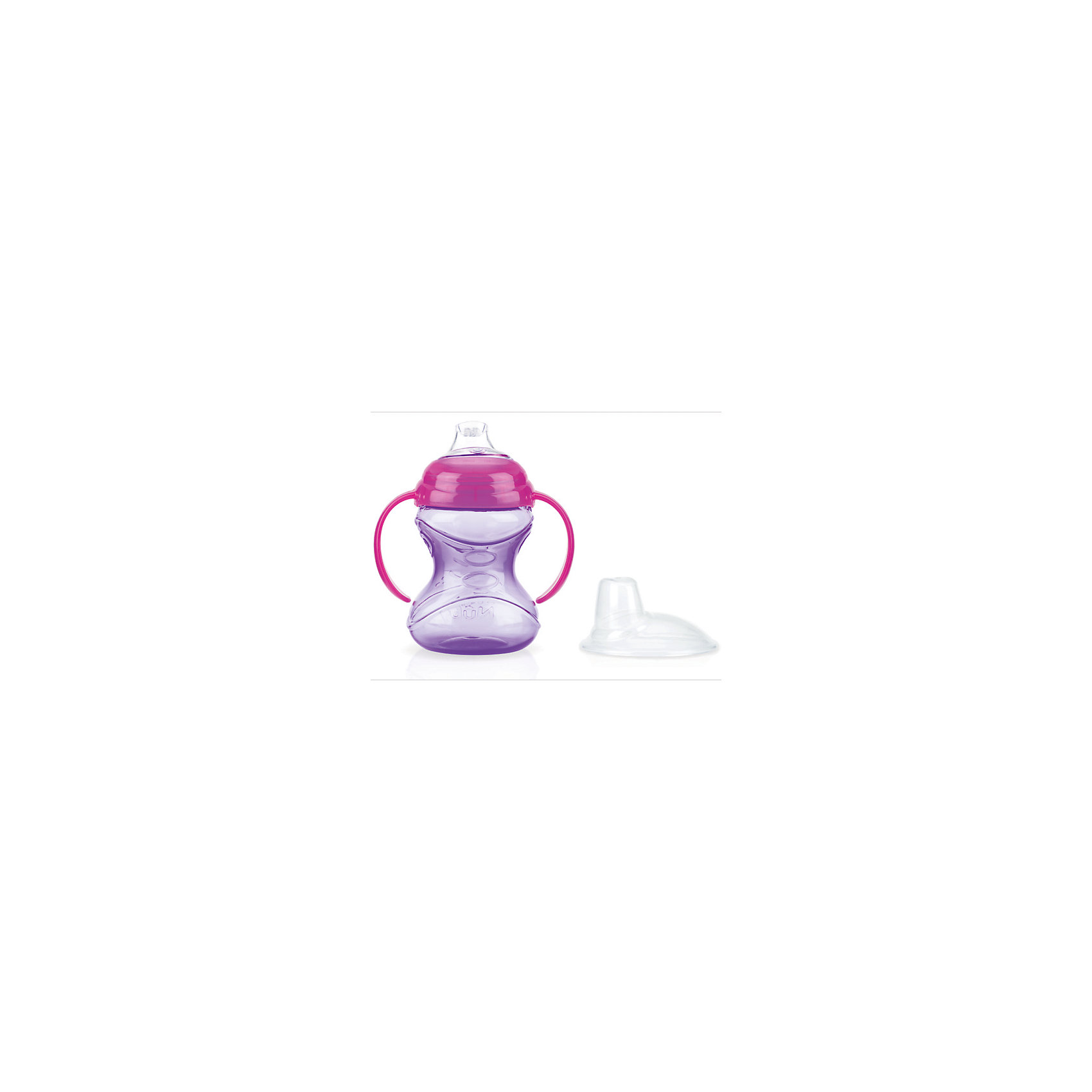 Поильник 240мл, Nuby, фиолетовыйПоильники<br>Эргономичный поильник удобен в использовании как для родителей, так и для очень маленьких детей. Процесс обучения ребенка самостоятельному питью станет легким, благодаря мягкому силиконовому носику и анатомической форме поильника. Эргономичные ручки позволяют ребенку надежно удерживать поильник в руках в процессе обучения самостоятельному питью. Особая система встроенного клапана предотвращает проливание. Благодаря уникальной технологии жидкость в носик поступает только в момент совершения малышом сосательных движений, что предотвращает протекание поильника. Мягкий носик не причинит беспокойства нежным деснам и зубкам ребенка.<br>Особенности:<br>Встроенный клапан-непроливайка<br>Безопасен для дёсен<br>Легко держать<br>Не содержит Бисфенол-А                                                                                                                                                                                                                                                  УХОД: Изделие можно безопасно мыть в посудомоечной машине на верхней полке или мыть в теплой воде с использованием мягкого жидкого мыла, а затем тщательно промывать в чистой воде. Во избежание травм не позволяйте ребенку гулять и бегать с поильником. Никогда не наливайте в поильник газированные напитки; возникающее давление может привести к протеканию. Никогда не оставляйте ребенка без присмотра во время использования им этого или иного детского изделия. Всегда проверяйте температуру жидкости перед кормлением.<br>Изделие изготовлено из безопасных, долговечных, нетоксичных материалов. Сертифицировано в России. Соответствует всем требованиям ГОСТ и СанПиН.<br><br>Ширина мм: 120<br>Глубина мм: 180<br>Высота мм: 170<br>Вес г: 95<br>Возраст от месяцев: 12<br>Возраст до месяцев: 36<br>Пол: Унисекс<br>Возраст: Детский<br>SKU: 4849909