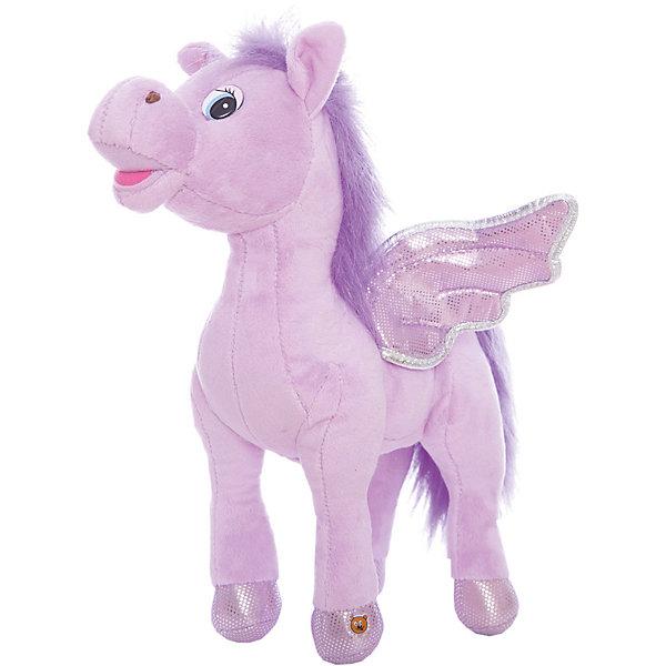 Мягкая игрушка Пони с крыльями, фиолетовая, МУЛЬТИ-ПУЛЬТИМузыкальные мягкие игрушки<br>Очаровательная мягкая лошадка с крылышками обязательно понравится девочке! Пони расскажет своей хозяйке веселые стихи, споет песенку или просто поговорит. Игрушка выполнена из высококачественных материалов, плотно набита, очень приятна на ощупь. <br><br>Дополнительная информация: <br><br>- Материал: пластик, текстиль, синтепон.<br>- Размер: 25 см.<br>- 3 фразы, 4 стишка, 2 песенки.<br>- Элемент питания: батарейки (в комплекте).<br><br>Мягкую игрушку Пони с крыльями, МУЛЬТИ-ПУЛЬТИ можно купить в нашем магазине.<br>Ширина мм: 300; Глубина мм: 260; Высота мм: 100; Вес г: 420; Возраст от месяцев: 36; Возраст до месяцев: 120; Пол: Женский; Возраст: Детский; SKU: 4850050;