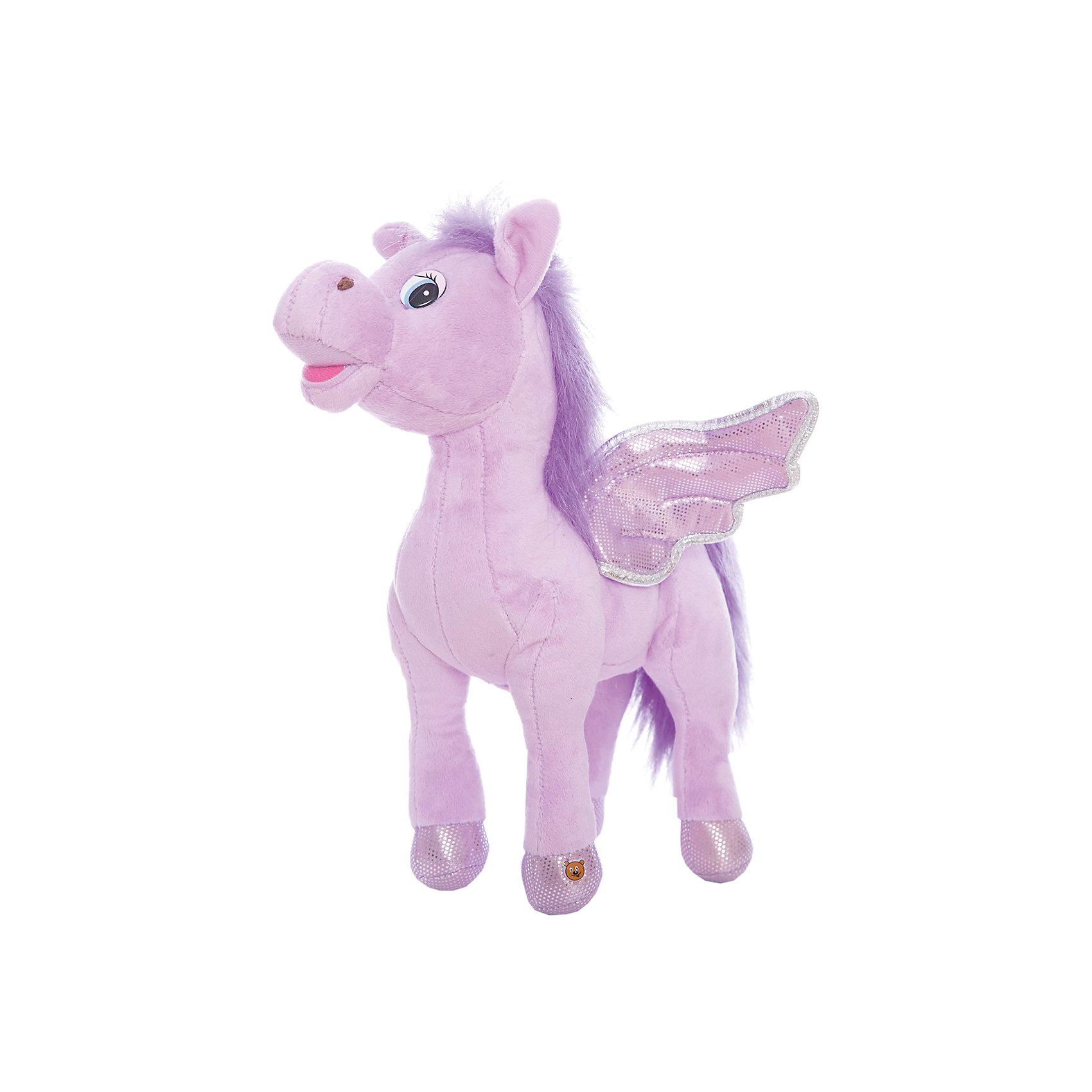 Мягкая игрушка Пони с крыльями, фиолетовая, МУЛЬТИ-ПУЛЬТИОчаровательная мягкая лошадка с крылышками обязательно понравится девочке! Пони расскажет своей хозяйке веселые стихи, споет песенку или просто поговорит. Игрушка выполнена из высококачественных материалов, плотно набита, очень приятна на ощупь. <br><br>Дополнительная информация: <br><br>- Материал: пластик, текстиль, синтепон.<br>- Размер: 25 см.<br>- 3 фразы, 4 стишка, 2 песенки.<br>- Элемент питания: батарейки (в комплекте).<br><br>Мягкую игрушку Пони с крыльями, МУЛЬТИ-ПУЛЬТИ можно купить в нашем магазине.<br><br>Ширина мм: 300<br>Глубина мм: 260<br>Высота мм: 100<br>Вес г: 420<br>Возраст от месяцев: 36<br>Возраст до месяцев: 120<br>Пол: Женский<br>Возраст: Детский<br>SKU: 4850050