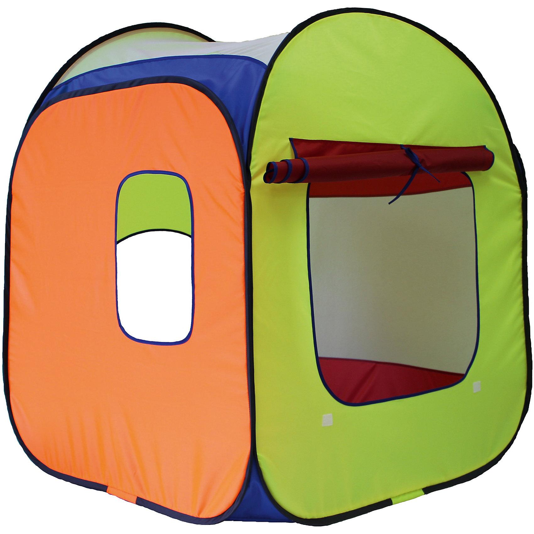 Палатка Радужный домик, разноуровневаяРазмер: 85 см х 85 см х 110 см. Используемые материалы: прочный синтетический водоотталкивающий материал, москитная сетка, лента контакт, стальная пружинная лента.<br><br>Ширина мм: 400<br>Глубина мм: 400<br>Высота мм: 60<br>Вес г: 855<br>Возраст от месяцев: 36<br>Возраст до месяцев: 120<br>Пол: Унисекс<br>Возраст: Детский<br>SKU: 4852045