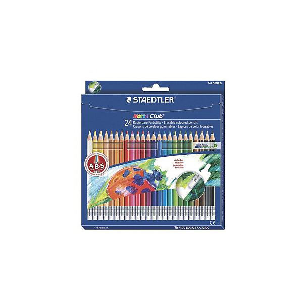 Цветные карандаши с ластиком NorisClub, 24 цв.Цветные<br>Набор цветных карандашей Noris Club классической шестигранной формы с ластиком.  Небольшие ошибки могут быть мгновенно исправлены с помощью ластика без ПВХ. Картонная коробка. Содержит 24 цвета. A-B-C - белое защитное покрытие для укрепления грифеля и для защиты от поломки. Очень мягкий и яркий грифель. При призводстве используется древесина сертифицированных и  специально подготовленных лесов.<br>Ширина мм: 196; Глубина мм: 189; Высота мм: 10; Вес г: 160; Возраст от месяцев: 60; Возраст до месяцев: 168; Пол: Унисекс; Возраст: Детский; SKU: 4853255;