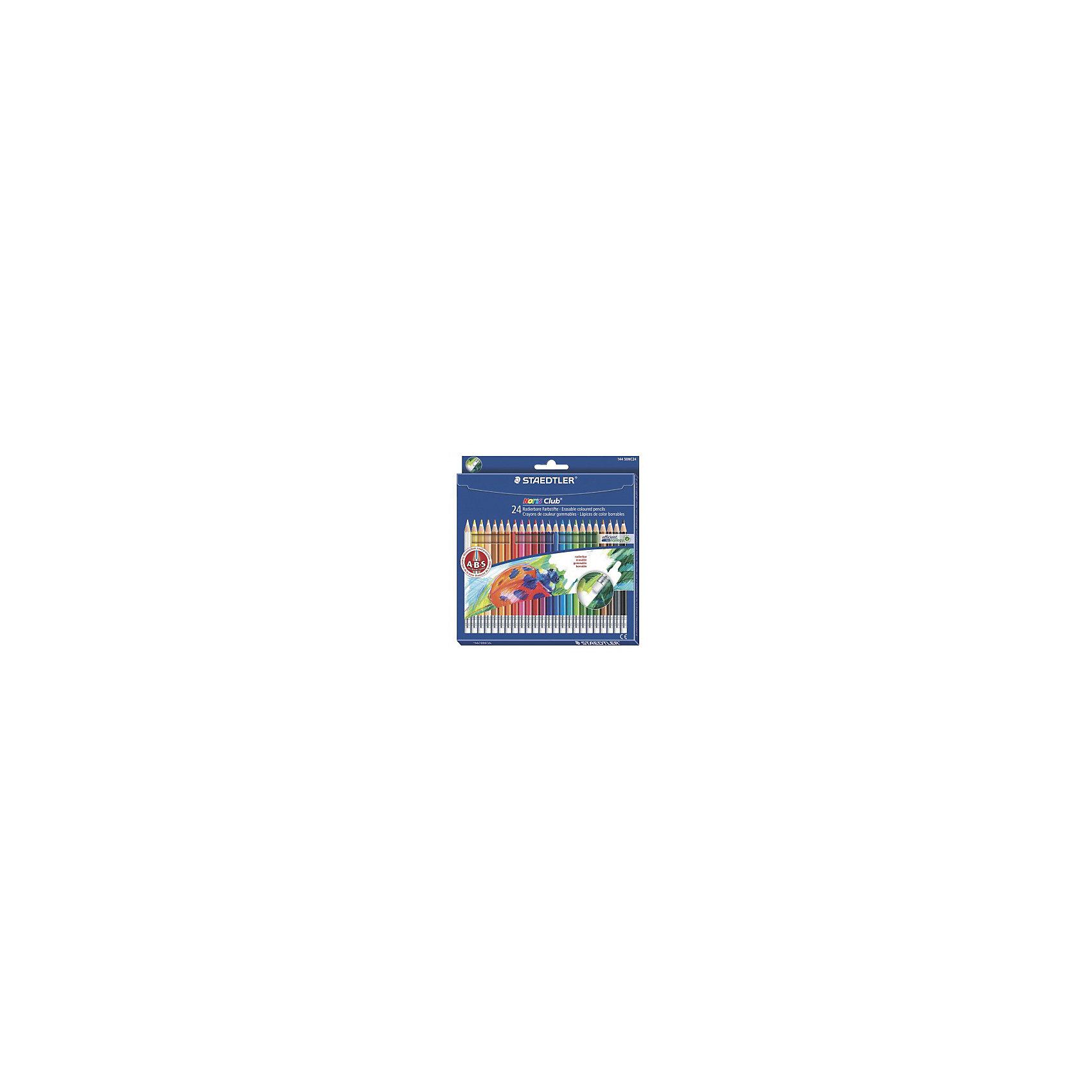 Цветные карандаши с ластиком NorisClub, 24 цв.Письменные принадлежности<br>Набор цветных карандашей Noris Club классической шестигранной формы с ластиком.  Небольшие ошибки могут быть мгновенно исправлены с помощью ластика без ПВХ. Картонная коробка. Содержит 24 цвета. A-B-C - белое защитное покрытие для укрепления грифеля и для защиты от поломки. Очень мягкий и яркий грифель. При призводстве используется древесина сертифицированных и  специально подготовленных лесов.<br><br>Ширина мм: 196<br>Глубина мм: 189<br>Высота мм: 10<br>Вес г: 160<br>Возраст от месяцев: 60<br>Возраст до месяцев: 168<br>Пол: Унисекс<br>Возраст: Детский<br>SKU: 4853255