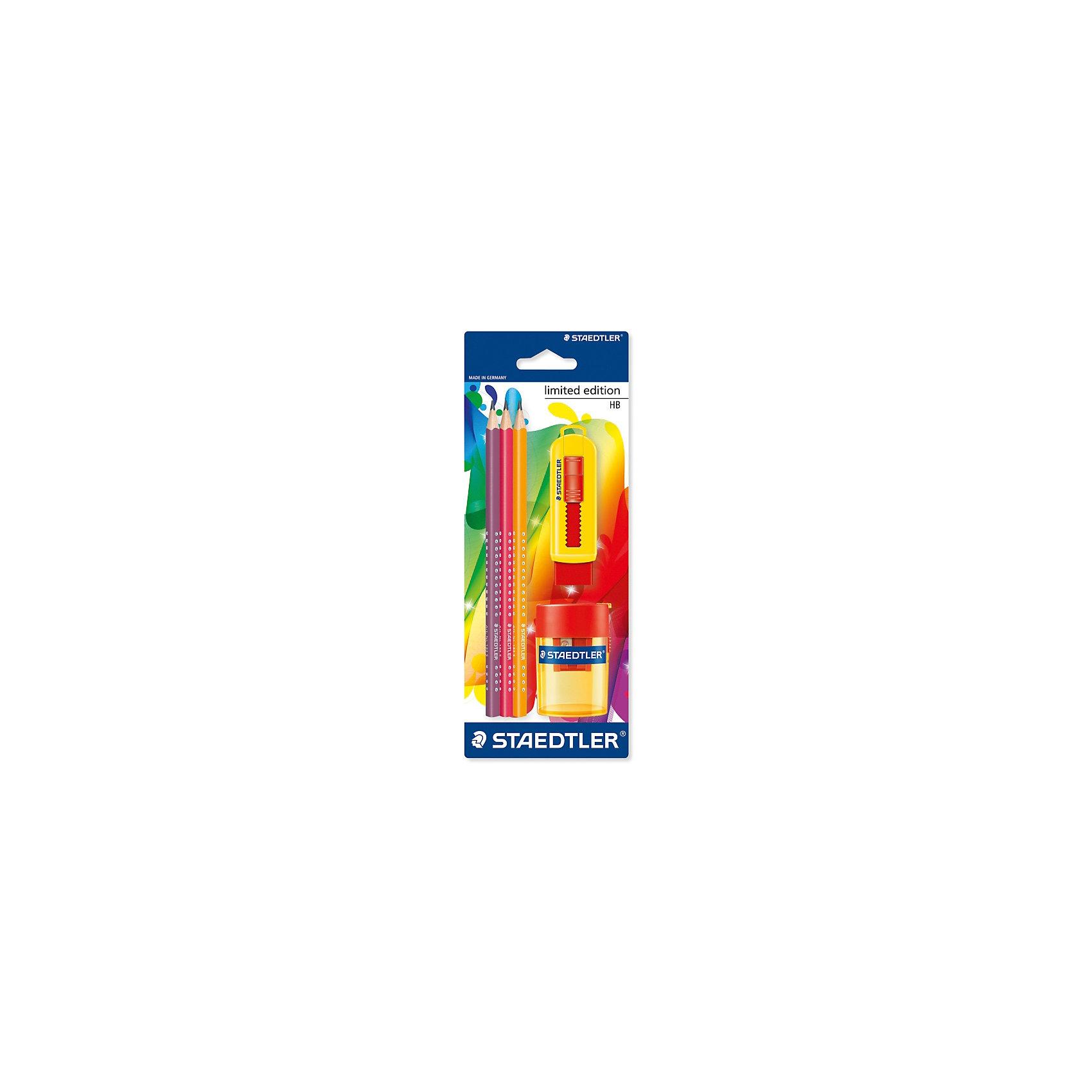 Чернографитный карандаш Limited Edition HB с ластиком и точилкой, 3 шт.Письменные принадлежности<br>Набор чернографитовых карандашей Staedtler Лимитированная коллекция в блистерной упаковке. Твердо-мягкий грифель HB. Содержит: 3 трехгранных карандаша с ярким цветным корпусом + ластик+точилка. Оригинальный дизайн. Удобство в использовании и неповторимое немецкое качество.<br><br>Ширина мм: 235<br>Глубина мм: 91<br>Высота мм: 45<br>Вес г: 80<br>Возраст от месяцев: 84<br>Возраст до месяцев: 168<br>Пол: Унисекс<br>Возраст: Детский<br>SKU: 4853257
