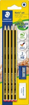 Staedtler Чернографитный карандаш с ластиком и точилкой Noris HB, 4 шт.