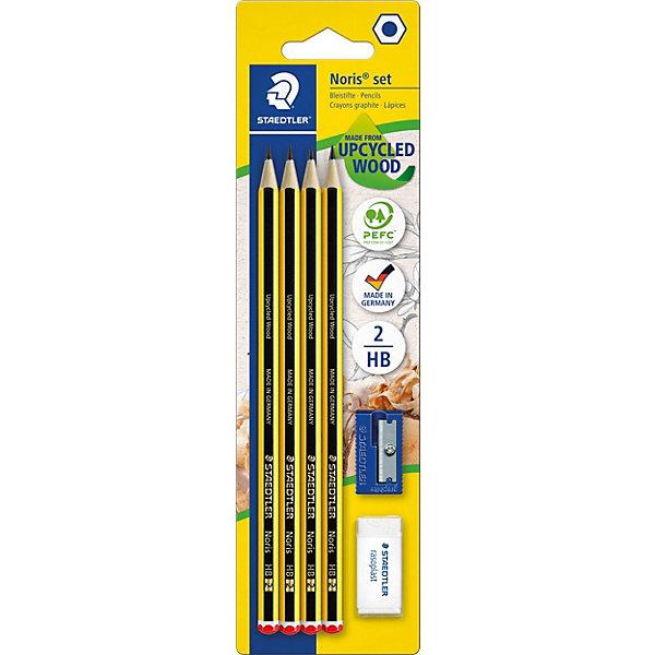 Чернографитный карандаш с ластиком и точилкой Noris HB, 4 шт.Чернографитные<br>Набор чернографитовых карандашей   Noris с ластиком и точилкой  в блистерной упаковке. Содержит: 4 карандаша+ ластик+ точилка. Твердо-мягкий гифель HB.  Ластик без ПВХ и латекса. Высокакачественный карандаш для письма, черчения и набросков. Идеально для школы и офиса. Непревзойденная устойчивость к поломке благодаря специально разработанному грифелю и особой проклейке. При производстве используется древесина сертифицированных и специально подготовленных лесов.<br><br>Ширина мм: 235<br>Глубина мм: 66<br>Высота мм: 15<br>Вес г: 36<br>Возраст от месяцев: 84<br>Возраст до месяцев: 168<br>Пол: Унисекс<br>Возраст: Детский<br>SKU: 4853259