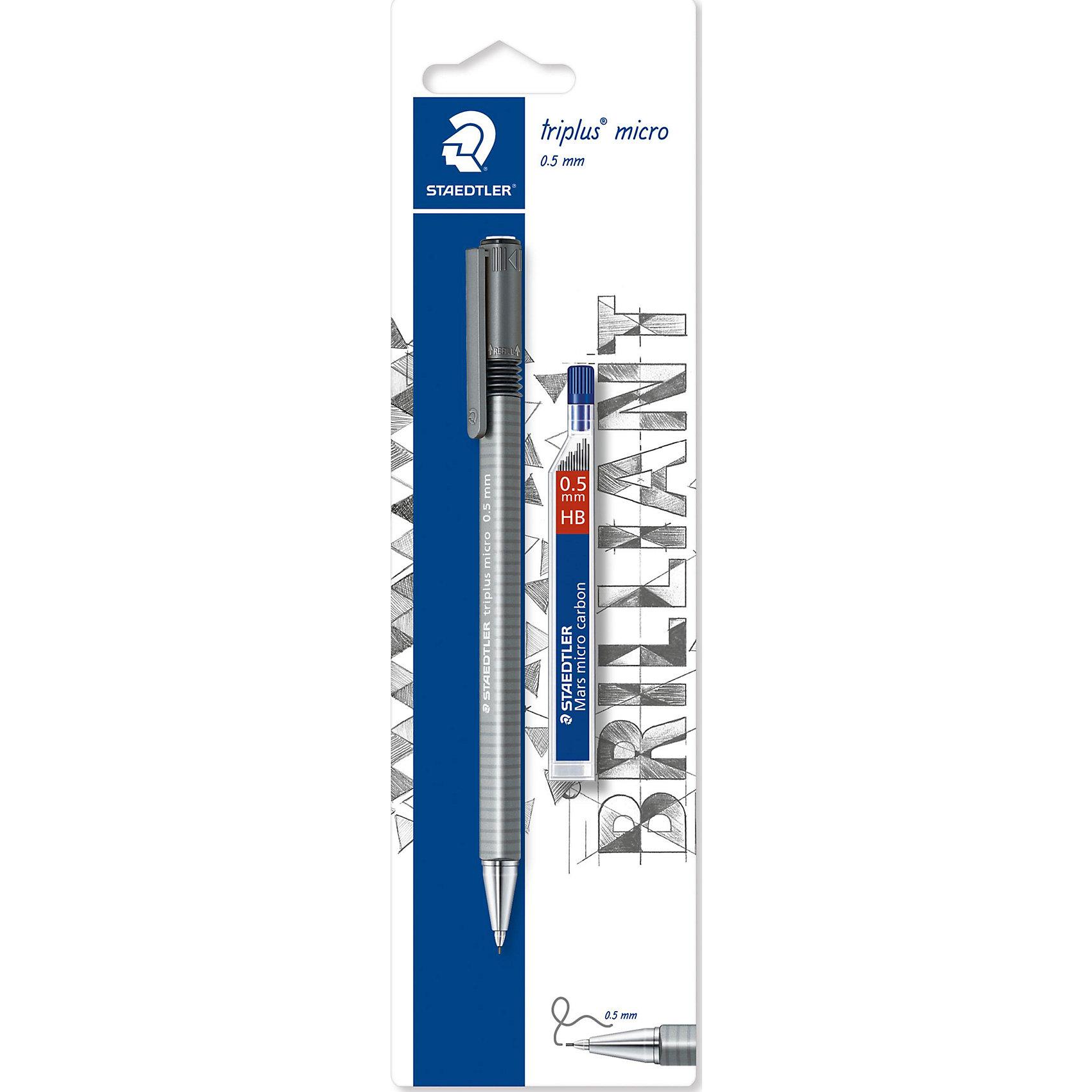 Механический карандаш Triplus Micro, 0,5 ммПисьменные принадлежности<br>Механический карандаш Triplus micro774 в блистерной упаковке. Содержит: 1 механический карандаш (грифель 0,7 мм), 1 уп. грифелей 0,5 мм. Предназначен для письма. Эргонамичная трехгарнная форма для удобного и легкого письма. Хромированный металлический пишущий узел. Безопасно для ношения в кармане благодаря убираемому грифелю. Амортизирующее крепление грифеля - дополнительная защита от поломки. Экстра длинный выкручиваюшийся ластик без ПВХ и латекса. Грифели В (мягкие).<br><br>Ширина мм: 235<br>Глубина мм: 66<br>Высота мм: 12<br>Вес г: 26<br>Возраст от месяцев: 108<br>Возраст до месяцев: 168<br>Пол: Унисекс<br>Возраст: Детский<br>SKU: 4853263
