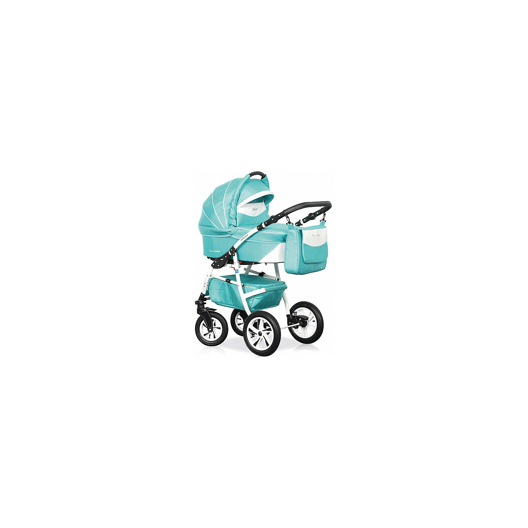 Коляска 2 в 1 Adriano, Caretto, бирюзовыйКоляска 2 в 1 Adriano, Caretto (Каретто), бронзовый – эта новая, многофункциональная модель детской коляски, предназначенная для детей с рождения и до 3-х лет. Все элементы и детали коляски изготовлены из экологически безопасных материалов. Защита вашего малыша от травм и падений будет обеспечена самыми современными ремнями безопасности. Люлька отличается большим коробом, поэтому даже крупному малышу в ней будет удобно и комфортно.<br>Коляска Caretto Adriano 2 в 1 универсальна в своем использовании: внутренняя обивка выполнена из тонкого хлопкового полотна, что позволяет создавать и поддерживать комфортную температуру в любое время года: зимой она защитит малыша от ветра и снега, летом ? от жары, солнца или дождя. Все текстильные элементы легко очищаются от загрязнений.<br>Cтиль коляски Caretto Adriano 2 в 1 отвечает современным модным тенденциям: яркость расцветок сочетается с изящными дополнительными деталями и аксессуарами.<br>Коляска Каретто 2 в 1 ? это комфорт для малыша и удобство для мамы.<br><br>Дополнительная информация:<br><br>- Механизм складывания: книжка<br>- Цвет: бирюзовый<br>- Сезон: зима-лето<br>- Комплектация: прогулочный блок, шасси, люлька, сумка для мамы, накидка на ножки, москитная сетка, дождевик, матрасик в люльку<br>- Ширина шасси: 61 см<br>- Диаметр колес: передние – 24 см, задние, надувные – 29 см<br>- Ручка: регулируемая, 4 положения<br>- Размер люльки (ДxШ): 77х35<br>- Размер (ДxВхШ): 90х56х62 см<br>- Материал: плотная водоотталкивающая ткань (внешняя обивка), тонкая хлопковая ткань (внутренняя обивка)<br>- Вес 24,0 кг<br><br>Подробнее:<br><br>- Для детей в возрасте: от 0 месяцев до 3 лет<br><br>Страна производитель: Польша<br><br>Коляску 2 в 1 Adriano, Caretto, юирюзовый можно купить в нашем интернет-магазине.<br><br>Ширина мм: 900<br>Глубина мм: 620<br>Высота мм: 560<br>Вес г: 24000<br>Возраст от месяцев: 0<br>Возраст до месяцев: 36<br>Пол: Унисекс<br>Возраст: Детский<br>SKU: 4855043