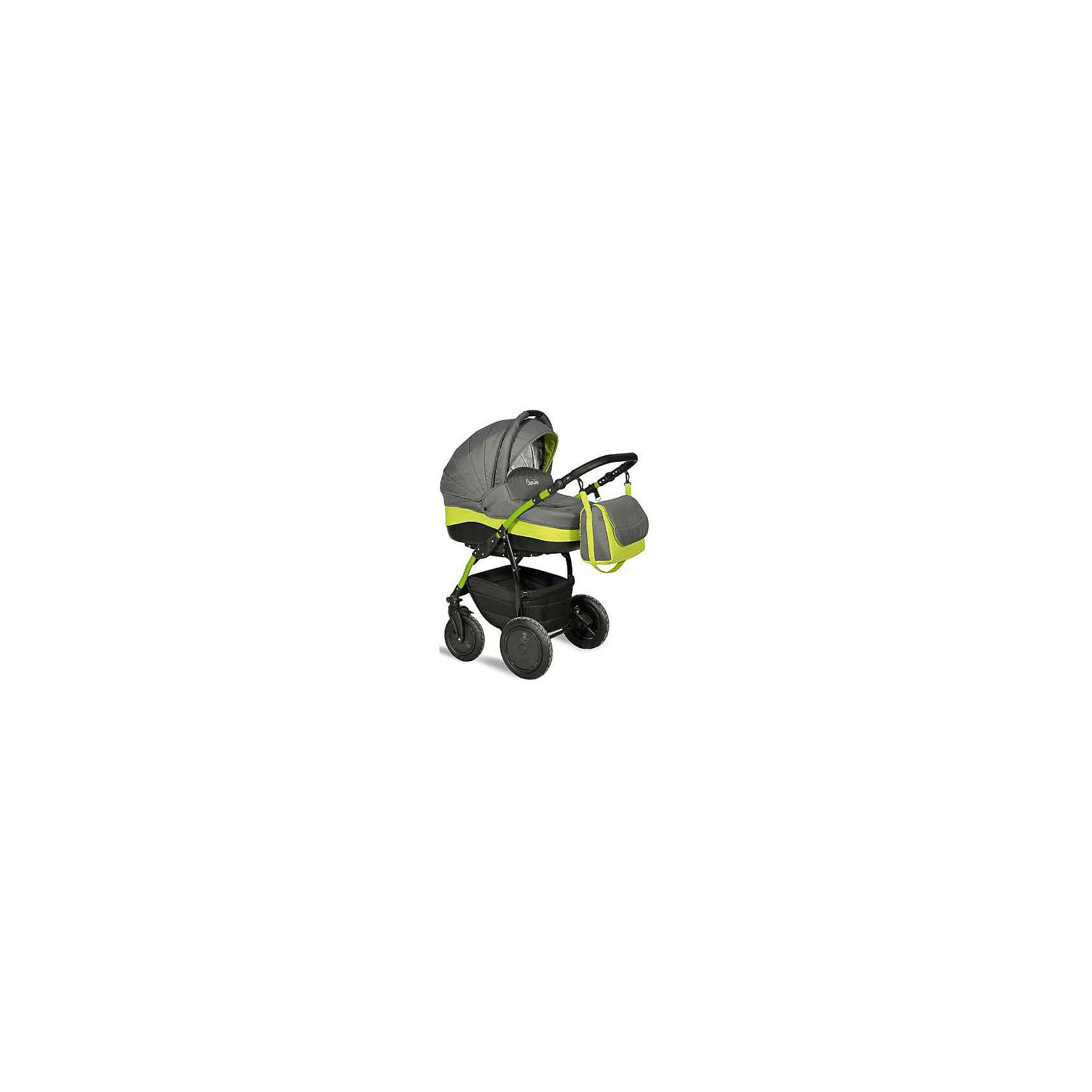 INDIGO Коляска 2 в 1 Camila, Indigo, графит/салатовый универсальная коляска indigo isabel s 2 в 1 07 white blue