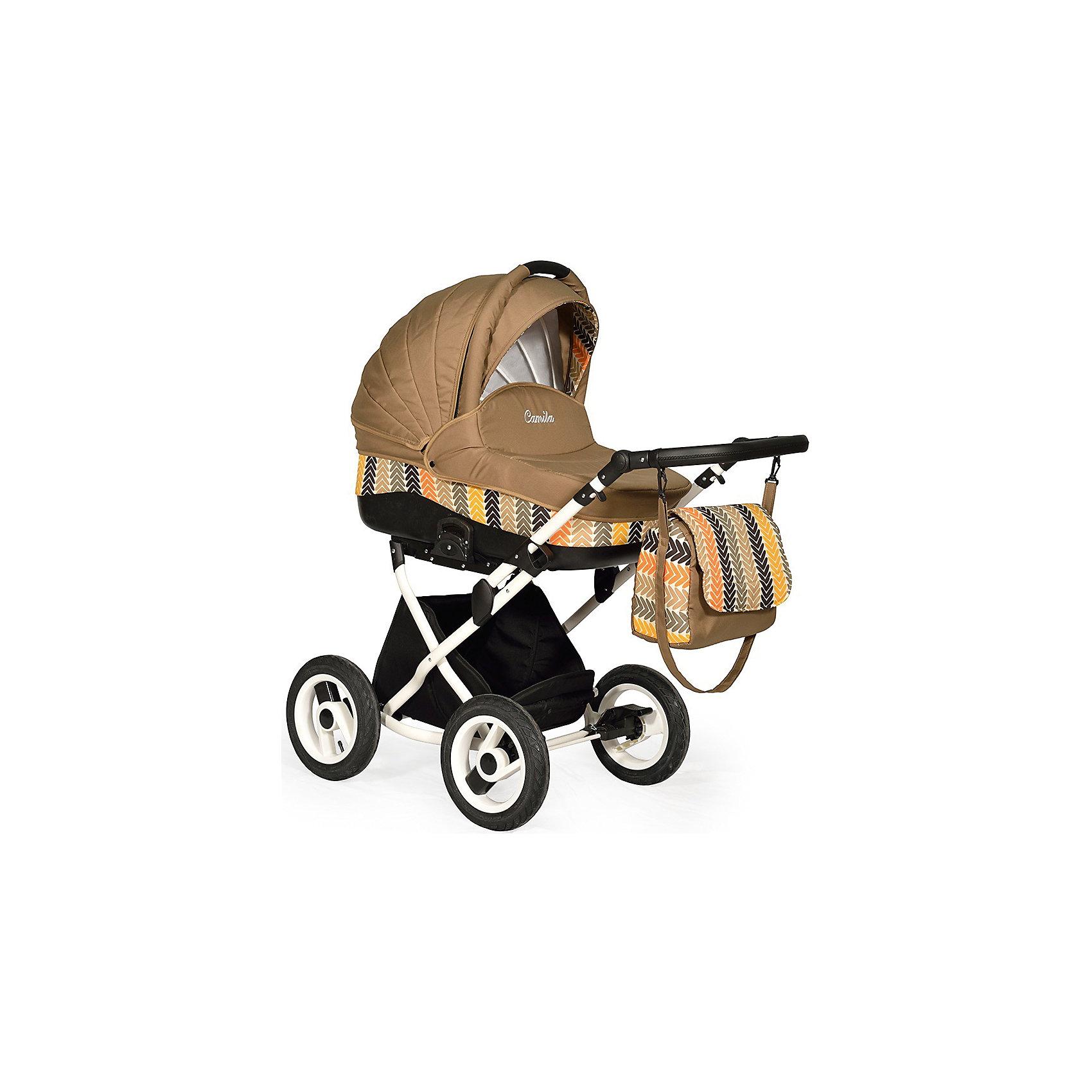 Коляска 2 в 1 Camila Classic 12, Indigo, бежевыйКоляски 2 в 1<br>Коляска 2 в 1 Camila Classic 12, Indigo, бежевый (Индиго Камила Классик 12) – модель, сочетающая в себе все достоинства классических моделей, с современным дизайном и практичностью.  Колеса у коляски 2 в 1 Индиго Камила Классик обеспечивают высокую проходимость при плавности движения люльки или съемного блока. Для удобства мамы предусмотрен вместительный короб для покупок, который закрывается на молнию. <br>Коляска 2 в 1 Camila Classic 12, Indigo, бежевый оснащена 5-ти точечными ремнями безопасности. Дизайн коляски отвечает современным требованиям: одноцветные модели модных оттенков или модели, сочетающие в себе разные цвета ? выгодно отличаются от других колясок.  <br>Коляска 2 в 1 Camila Classic 12, Indigo, бежевый – классические традиции и современный дизайн для вашего малыша.<br><br>Дополнительная информация:<br><br>- Механизм складывания: книжка<br>- Цвет: бежевый<br>- Сезон: зима-лето<br>- Комплектация: сумка для мамы, москитная сетка, дождевик<br>- Ширина шасси: 61 см<br>- Диаметр колес: 30 см<br>- Ручка: регулируемая, 4 положения<br>- Размер люльки (ДxШ): 90х41<br>- Размер (ДxВхШ): 93х58х60 см<br>- Материал: внешняя отделка ? качественный прочный текстиль, внутренняя ? хлопок 100%<br>- Вес 21,0 кг<br><br>Подробнее:<br><br>- Для детей в возрасте: от 0 месяцев до 3 лет<br><br>Страна производитель: Польша<br><br>Коляску 2 в 1 Camila Classic 12, Indigo, бежевый можно купить в нашем интернет-магазине.<br><br>Ширина мм: 900<br>Глубина мм: 600<br>Высота мм: 580<br>Вес г: 21000<br>Возраст от месяцев: 0<br>Возраст до месяцев: 36<br>Пол: Унисекс<br>Возраст: Детский<br>SKU: 4855056