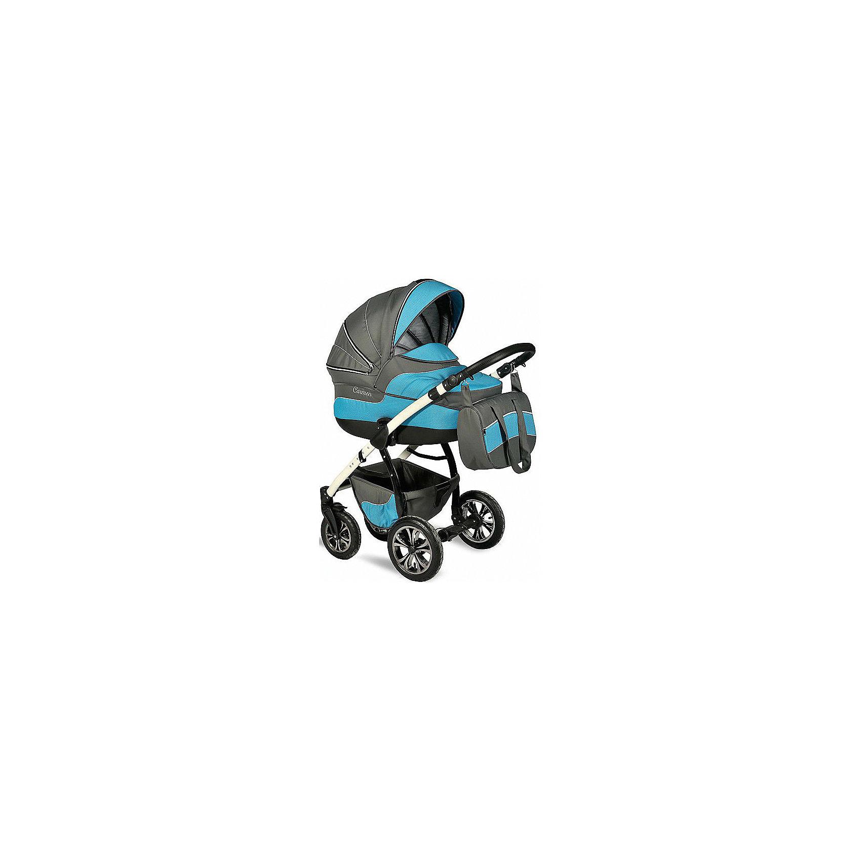 INDIGO Коляска 2 в 1 Carmen, Indigo, серый/голубой универсальная коляска indigo s 2 в 1 кожа 17 white grey