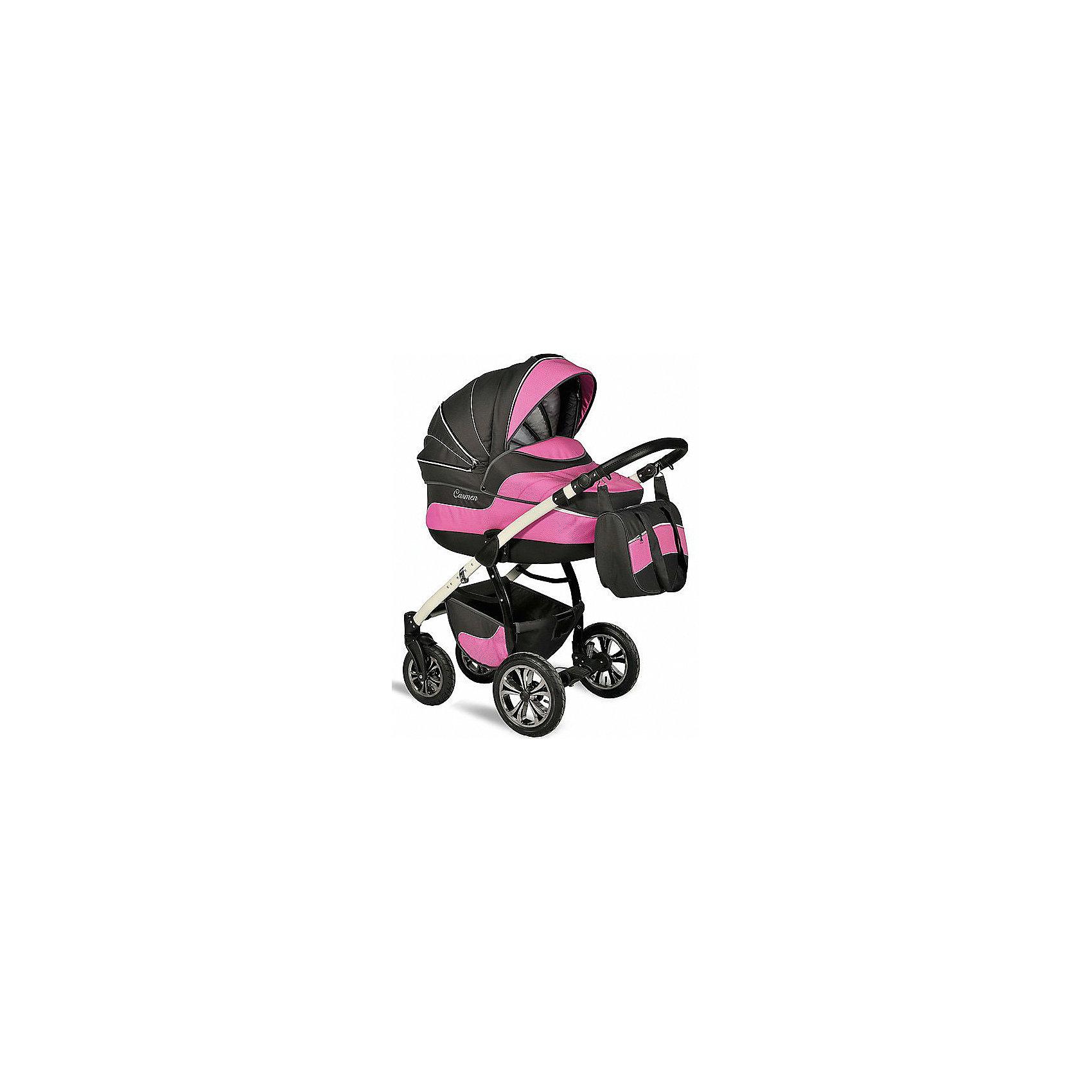 INDIGO Коляска 2 в 1 Carmen, Indigo, графит/розовый универсальная коляска indigo s 2 в 1 кожа 17 white grey
