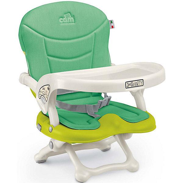 Стульчик для кормления Smarty Pop, CAM, салатовыйСтульчики для кормления с 6 месяцев<br>Smarty Pop - переносной стульчик для кормления, идеально подходящий для активных и мобильных родителей! Модель оснащена уникальным механизмом фиксации, благодаря чему прочно и надежно крепится на любом стуле. Smarty Pop регулируется по высоте в 4 позициях в зависимости от роста ребенка, имеет пластиковый столик для малышей, которые еще только учатся есть. Удобное мягкое сиденье эргономичной формы оснащено ремнями безопасности. Стульчик имеет противоскользящие упоры, гарантирующие безопасность даже самым активным детям. Модель легко и компактно складывается, в сложенном виде занимает мало места. Ее удобно брать с собой на прогулки, путешествия, в гости. <br><br>Дополнительная информация:<br><br>- Материал: пластик, текстиль.<br>- Размер в разложенном виде: 37x42x50 см.<br>- Размер в сложенном виде: 37x42x13 см.<br>- Вес: 1,8 кг.<br>- Регулировка по высоте в 4 позициях (от 0 до 18 см).<br>- Противоскользящие упоры.<br>- Удобное сиденье с подлокотниками.<br>- Отсутствуют острые углы и края.<br>- Легко моется.<br>- Быстро и компактно складывается. <br> <br>Стульчик для кормления Smarty Pop, CAM, салатовый, можно купить в нашем магазине.<br>Ширина мм: 600; Глубина мм: 435; Высота мм: 377; Вес г: 2000; Возраст от месяцев: 6; Возраст до месяцев: 36; Пол: Унисекс; Возраст: Детский; SKU: 4856273;