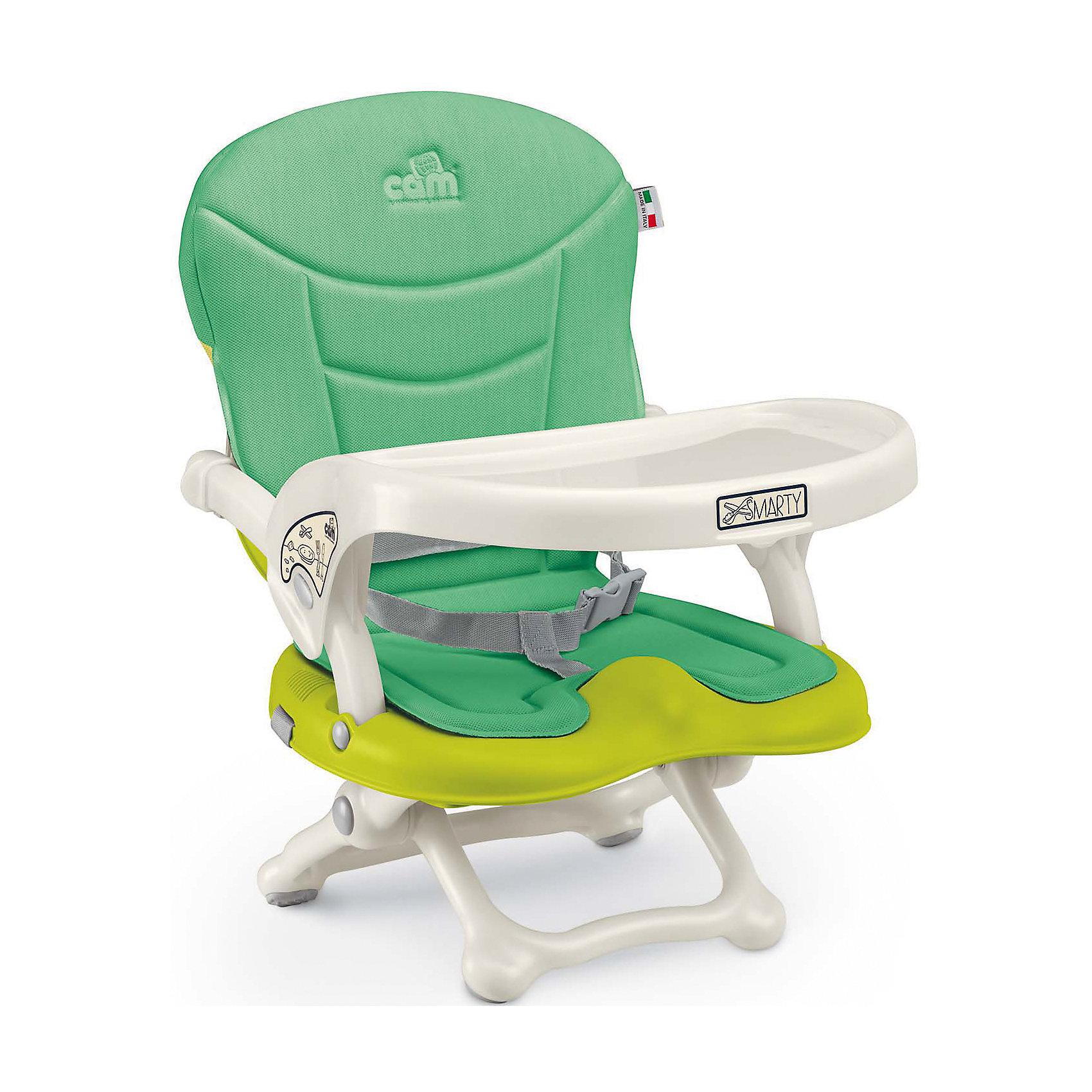 Стульчик для кормления Smarty Pop, CAM, салатовыйот +6 месяцев<br>Smarty Pop - переносной стульчик для кормления, идеально подходящий для активных и мобильных родителей! Модель оснащена уникальным механизмом фиксации, благодаря чему прочно и надежно крепится на любом стуле. Smarty Pop регулируется по высоте в 4 позициях в зависимости от роста ребенка, имеет пластиковый столик для малышей, которые еще только учатся есть. Удобное мягкое сиденье эргономичной формы оснащено ремнями безопасности. Стульчик имеет противоскользящие упоры, гарантирующие безопасность даже самым активным детям. Модель легко и компактно складывается, в сложенном виде занимает мало места. Ее удобно брать с собой на прогулки, путешествия, в гости. <br><br>Дополнительная информация:<br><br>- Материал: пластик, текстиль.<br>- Размер в разложенном виде: 37x42x50 см.<br>- Размер в сложенном виде: 37x42x13 см.<br>- Вес: 1,8 кг.<br>- Регулировка по высоте в 4 позициях (от 0 до 18 см).<br>- Противоскользящие упоры.<br>- Удобное сиденье с подлокотниками.<br>- Отсутствуют острые углы и края.<br>- Легко моется.<br>- Быстро и компактно складывается. <br> <br>Стульчик для кормления Smarty Pop, CAM, салатовый, можно купить в нашем магазине.<br><br>Ширина мм: 600<br>Глубина мм: 435<br>Высота мм: 377<br>Вес г: 2000<br>Возраст от месяцев: 6<br>Возраст до месяцев: 36<br>Пол: Унисекс<br>Возраст: Детский<br>SKU: 4856273