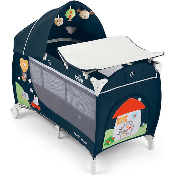 Манеж-кровать Daily Plus, CAM, синий Bebe amore mioДетские кроватки<br>Манеж-кровать Daily Plus - прекрасный вариант для малышей. Модель имеет 2 колесика со стопорами, удобный боковой карман и лаз на молнии, для уже подросших детей. Стенки из сетчатого материала обеспечивают хорошую вентиляцию и обзор, антимоскитная сетка  защитит кроху от насекомых. Съемный пеленальный столик надежно крепится на кровати. Капюшон снабжен тремя игрушками. Манеж-кровать быстро и компактно складывается, колесики позволяют также перемещать модель в сложенном виде. В производстве изделия использованы только экологичные, безопасные для детей материалы. <br><br>Дополнительная информация:<br><br>- Материал: текстиль, металл, пластик.<br>- Размер в разложенном виде: 127х66х109 см.<br>- Размер сложенном виде: 75х18х18 см.<br>- Максимальный вес ребенка: 15 кг.<br>- Удобные колесики.<br>- Большой боковой карман и три подвесные игрушки лаз-дверка на молнии.<br>- Сетчатые бортики.<br>- Комплектация: съемный пеленальный столик, антимоскитная сетка, съемный капюшон с игрушками, <br>мягкий матрасик, сумка для перевозки, съемная люлька для сна.<br><br>Манеж-кровать Daily Plus, CAM, синий, Bebe amore mio, можно купить в нашем магазине.<br><br>Ширина мм: 240<br>Глубина мм: 290<br>Высота мм: 790<br>Вес г: 14100<br>Возраст от месяцев: 0<br>Возраст до месяцев: 36<br>Пол: Унисекс<br>Возраст: Детский<br>SKU: 4856274