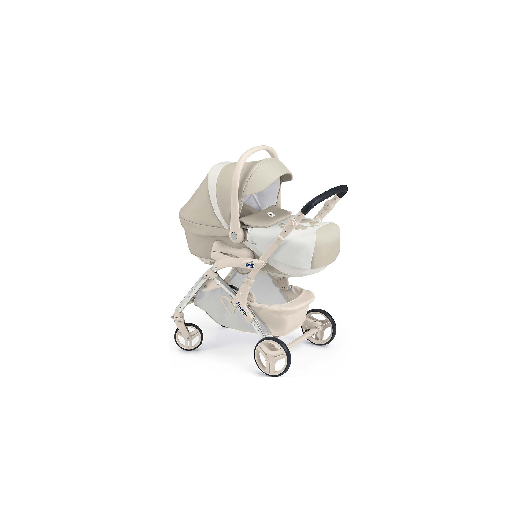 Коляска 3 в 1 Fluido Orsibelli, CAM, крем/белыйКоляска 3 в 1 Fluido Orsibelli - практичный и удобный вариант для родителей и гарантия комфорта и безопасности для малышей с рождения и до 3 лет. Алюминиевая рама гарантирует прочность, колеса разного диаметра с амортизаторами обеспечивают комфортное передвижение по любой местности.<br>Запатентованная система Quicky System позволяет быстро и надежно установить люльку на шасси. Объемная люлька с обивкой из натурального хлопка имеет мягкий матрасик со съемным чехлом, спинку, регулируемую в 4 положениях, специальные полозья, с помощью которых можно укачивать кроху. Большой капюшон защитит малыша от плохой погоды.<br>Благодаря реверсивной системе Via Vai прогулочный блок может устанавливаться по ходу и против хода движения. Пятиточечные страховочные ремни, съемный бампер, капюшон с козырьком от солнца и регулируемая до положения лежа спинка обеспечат комфортные и безопасные прогулки в любую погоду. <br>Автокресло крепится в автомобиле при помощи штатных ремней безопасности, устанавливается против хода движения, имеет мягкий внутренний вкладыш и накладки на ремни безопасности. <br>Коляска Fluido Orsibelli имеет регулируемую по высоте ручку, шасси компактно складывается, в сложенном виде занимает мало места при хранении и транспортировке. <br><br>Дополнительная информация:<br><br>- Комплектация: люлька, прогулочный блок, автокресло - переноска, шасси,<br>сумка с пеленальным матрасиком, накидка на ножки, дождевик для прогулочного блока.<br>- Материал: алюминий, резина, пластик, текстиль. <br>- Количество колес: 4 (передние - поворотные с возможностью блокировки).<br>- Ножной тормоз. <br>- Размер люльки: 80x38x66 см.<br>- Вес: 4,6 кг.<br>- Размер коляски с люлькой: 56х90х114 см.<br>- Вес: 9,8 кг.<br>- Размер прогулочного блока: 84x56x100 см.<br>- Размер коляски (вместе с прогулочным блоком): 56х84х100 см.<br>- Вес: 7,2 кг.<br>- Размер шасси в сложенном виде: 26x56x83 см.<br>- Вес шасси: 5,2 кг.<br>- Размер автокресла: 64х44х58 
