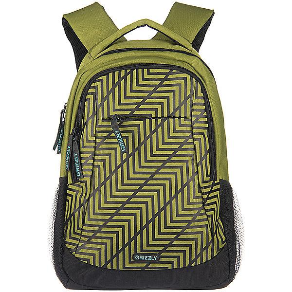Рюкзак школьный Grizzly, салатовыйРюкзаки<br>Рюкзак, салатовый, Grizzly (Гризли) ? рюкзак отечественного бренда Гризли молодежной серии. Рюкзак выполнен из полиэстера высокого качества, что обеспечивает легкий вес, но при этом высокую надежность и прочность. Все швы выполнены капроновыми нитками, что делает швы особенно крепкими и устойчивыми к износу даже в течение нескольких лет. <br>Внутреннее устройство рюкзака состоит из двух вместительных отсеков, двух внутренних карманов: один из которых составной пенал-органайзер, предназначенный для хранения канцелярских принадлежностей. Повышенная вместительность рюкзака обеспечивается объемными боковыми карманами из сетки, а также объемным карманом на передней стенке с застежкой на молнии.<br>Удобство и эргономичность рюкзака создается за счет жесткой анатомической спинки, широких лямок, дополнительной ручки-петли, а также за счет укрепленной ручки. Кроме того, имеется нагрудная стяжка-фиксатор. Уникальность рюкзаков Grizzly заключается в том, что анатомическая спинка изготовлена из специальной ткани, которая пропускает воздух, тем самым защищает спину от повышенного потоотделения.<br>Рюкзаки молодежной серии Grizzly (Гризли) ? это не только удобство и функциональность, это еще и оригинальный современный дизайн. Рюкзак, салатовый, Grizzly (Гризли) выполнен в модном цвете с оригинальным ярким геометрическим рисунком на переднем объемном кармане. Брендовая надпись располагается на спинке рюкзака.<br>Рюкзак, салатовый, Grizzly (Гризли) ? это качество материалов, удобство и долговечность использования. <br><br>Дополнительная информация:<br><br>- Вес: 840 г<br>- Габариты (Д*Г*В): 31*18*42 см<br>- Цвет: салатовый<br>- Материал: полиэстер <br>- Сезон: круглый год<br>- Коллекция: молодежная <br>- Год коллекции: 2016 <br>- Пол: мужской<br>- Предназначение: для школы<br>- Особенности ухода: можно чистить влажной щеткой или губкой, допускается ручная стирка<br><br>Подробнее:<br><br>• Для школьников в возрасте: от 8 лет и до 12 лет<b