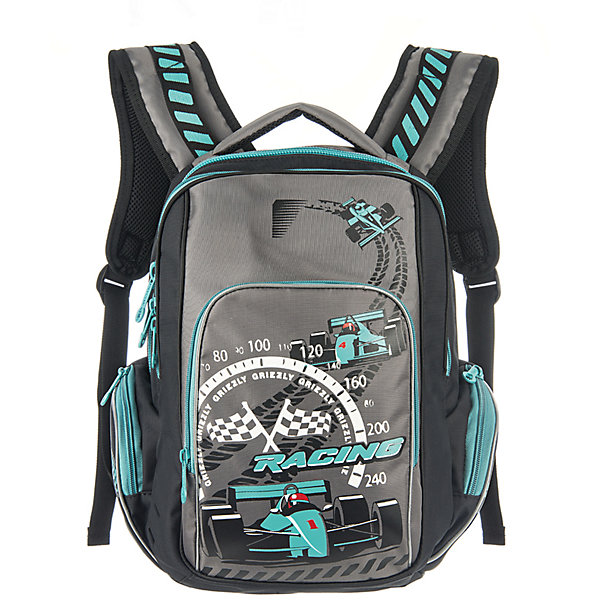 Рюкзак школьный Grizzly черно-бирюзовыйРюкзаки<br>Школьный рюкзак, черно-бирюзовый, Grizzly (Гризли) ? рюкзак отечественного бренда Гризли школьной серии.  Рюкзак  выполнен из нейлона высокого качества, что обеспечивает, с одной стороны, легкий вес, а с другой ? надежность и прочность. Все швы выполнены капроновыми нитками, что делает швы особенно крепкими и устойчивыми к износу даже в течение нескольких лет. <br>Внутреннее устройство рюкзака состоит из двух вместительных отсеков, внутреннего подвесного кармана на молнии и внутреннего кармана. Также имеется откидное дно, что увеличивает устойчивость рюкзака. Объемные карманы на молнии – по бокам и на передней стенке. Удобство и эргономичность рюкзака создается за счет жесткой анатомической спинки, укрепленных лямок и мягкой укрепленной ручки. С четырех сторон рюкзака имеются светоотражающие элементы. Уникальность рюкзаков Grizzly заключается в том, что анатомическая спинка изготовлена из специальной ткани, которая пропускает воздух, тем самым защищает спину от повышенного потоотделения.<br>Все рюкзаки школьной серии Grizzly (Гризли) имеют оригинальный современный дизайн. Школьный рюкзак, черно-бирюзовый, Grizzly (Гризли) выполнен в черном цвете с яркими элементами. Передний карман украшен большой яркой аппликацией.<br>Школьный рюкзак, черно-бирюзовый, Grizzly (Гризли) ? это качество материалов, удобство, стиль и долговечность использования. <br><br>Дополнительная информация:<br><br>- Вес: 800 г<br>- Габариты (Д*Г*В): 26*19*35 см<br>- Цвет: черно-бирюзовый<br>- Материал: нейлон <br>- Сезон: круглый год<br>- Коллекция: школьная <br>- Год коллекции: 2016 <br>- Пол: мужской<br>- Предназначение: для школы<br>- Особенности ухода: можно чистить влажной щеткой или губкой, допускается ручная стирка<br><br>Подробнее:<br><br>• Для школьников в возрасте: от 6 лет и до 10 лет<br>• Страна производитель: Россия<br>• Торговый бренд: Grizzly<br><br>Школьный рюкзак, черно-бирюзовый, Grizzly (Гризли) можно купить в нашем интернет-мага