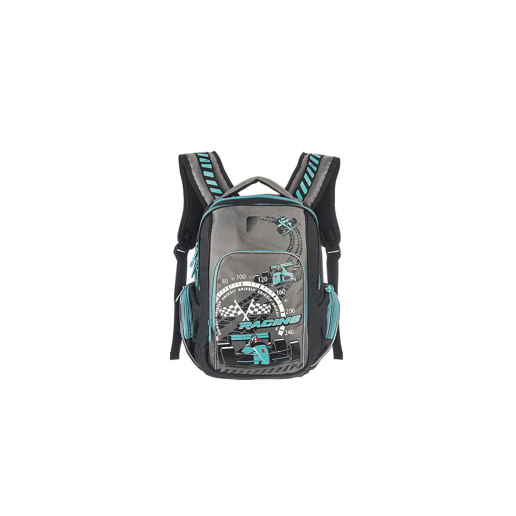 Grizzly Рюкзак школьный черно-бирюзовыйРюкзаки<br>Школьный рюкзак, черно-бирюзовый, Grizzly (Гризли) ? рюкзак отечественного бренда Гризли школьной серии.  Рюкзак  выполнен из нейлона высокого качества, что обеспечивает, с одной стороны, легкий вес, а с другой ? надежность и прочность. Все швы выполнены капроновыми нитками, что делает швы особенно крепкими и устойчивыми к износу даже в течение нескольких лет. <br>Внутреннее устройство рюкзака состоит из двух вместительных отсеков, внутреннего подвесного кармана на молнии и внутреннего кармана. Также имеется откидное дно, что увеличивает устойчивость рюкзака. Объемные карманы на молнии – по бокам и на передней стенке. Удобство и эргономичность рюкзака создается за счет жесткой анатомической спинки, укрепленных лямок и мягкой укрепленной ручки. С четырех сторон рюкзака имеются светоотражающие элементы. Уникальность рюкзаков Grizzly заключается в том, что анатомическая спинка изготовлена из специальной ткани, которая пропускает воздух, тем самым защищает спину от повышенного потоотделения.<br>Все рюкзаки школьной серии Grizzly (Гризли) имеют оригинальный современный дизайн. Школьный рюкзак, черно-бирюзовый, Grizzly (Гризли) выполнен в черном цвете с яркими элементами. Передний карман украшен большой яркой аппликацией.<br>Школьный рюкзак, черно-бирюзовый, Grizzly (Гризли) ? это качество материалов, удобство, стиль и долговечность использования. <br><br>Дополнительная информация:<br><br>- Вес: 800 г<br>- Габариты (Д*Г*В): 26*19*35 см<br>- Цвет: черно-бирюзовый<br>- Материал: нейлон <br>- Сезон: круглый год<br>- Коллекция: школьная <br>- Год коллекции: 2016 <br>- Пол: мужской<br>- Предназначение: для школы<br>- Особенности ухода: можно чистить влажной щеткой или губкой, допускается ручная стирка<br><br>Подробнее:<br><br>• Для школьников в возрасте: от 6 лет и до 10 лет<br>• Страна производитель: Россия<br>• Торговый бренд: Grizzly<br><br>Школьный рюкзак, черно-бирюзовый, Grizzly (Гризли) можно купить в нашем интернет-мага