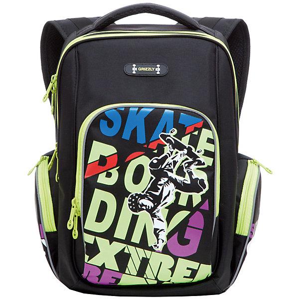 Рюкзак школьный Grizzly, черно-салатовыйРюкзаки<br>Школьный рюкзак, черно-салатовый, Grizzly (Гризли) ? рюкзак отечественного бренда Гризли школьной серии.  Рюкзак  выполнен из нейлона высокого качества, что обеспечивает, с одной стороны, легкий вес, а с другой ? надежность и прочность. Все швы выполнены капроновыми нитками, что делает швы особенно крепкими и устойчивыми к износу даже в течение нескольких лет. <br>Внутреннее устройство рюкзака состоит из двух вместительных отсеков, внутреннего подвесного кармана на молнии и внутреннего кармана. Также имеется откидное дно, что увеличивает устойчивость рюкзака. Объемные карманы на молнии – по бокам и на передней стенке. Удобство и эргономичность рюкзака создается за счет жесткой анатомической спинки, укрепленных лямок и мягкой укрепленной ручки. С четырех сторон рюкзака имеются светоотражающие элементы. Уникальность рюкзаков Grizzly заключается в том, что анатомическая спинка изготовлена из специальной ткани, которая пропускает воздух, тем самым защищает спину от повышенного потоотделения.<br>Все рюкзаки школьной серии Grizzly (Гризли) имеют оригинальный современный дизайн. Школьный рюкзак, черно-салатовый, Grizzly (Гризли) выполнен в черном цвете с яркими элементами. Передний карман украшен большой яркой аппликацией в форме разноцветных букв и фигуры скейтбордиста.<br>Школьный рюкзак, черно-салатовый, Grizzly (Гризли) ? это качество материалов, удобство, стиль и долговечность использования. <br><br>Дополнительная информация:<br><br>- Вес: 763 г<br>- Габариты (Д*Г*В): 26*19*35 см<br>- Цвет: черно-салатовый<br>- Материал: полиэстер <br>- Сезон: круглый год<br>- Коллекция: школьная <br>- Год коллекции: 2016 <br>- Пол: мужской<br>- Предназначение: для школы<br>- Особенности ухода: можно чистить влажной щеткой или губкой, допускается ручная стирка<br><br>Подробнее:<br><br>• Для школьников в возрасте: от 6 лет и до 10 лет<br>• Страна производитель: Россия<br>• Торговый бренд: Grizzly<br><br>Школьный рюкзак, черно-салатовый
