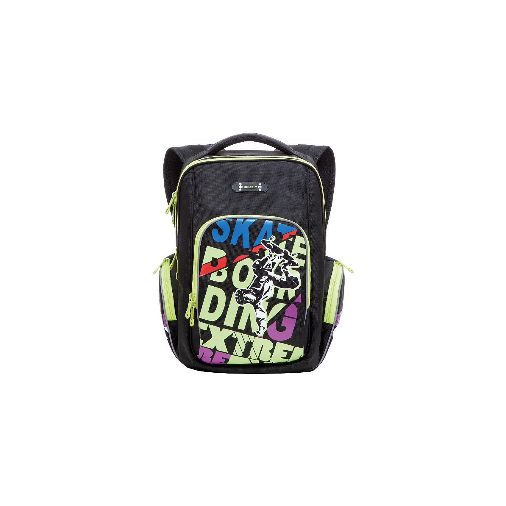 Школьный рюкзак, черно-салатовыйШкольный рюкзак, черно-салатовый, Grizzly (Гризли) ? рюкзак отечественного бренда Гризли школьной серии.  Рюкзак  выполнен из нейлона высокого качества, что обеспечивает, с одной стороны, легкий вес, а с другой ? надежность и прочность. Все швы выполнены капроновыми нитками, что делает швы особенно крепкими и устойчивыми к износу даже в течение нескольких лет. <br>Внутреннее устройство рюкзака состоит из двух вместительных отсеков, внутреннего подвесного кармана на молнии и внутреннего кармана. Также имеется откидное дно, что увеличивает устойчивость рюкзака. Объемные карманы на молнии – по бокам и на передней стенке. Удобство и эргономичность рюкзака создается за счет жесткой анатомической спинки, укрепленных лямок и мягкой укрепленной ручки. С четырех сторон рюкзака имеются светоотражающие элементы. Уникальность рюкзаков Grizzly заключается в том, что анатомическая спинка изготовлена из специальной ткани, которая пропускает воздух, тем самым защищает спину от повышенного потоотделения.<br>Все рюкзаки школьной серии Grizzly (Гризли) имеют оригинальный современный дизайн. Школьный рюкзак, черно-салатовый, Grizzly (Гризли) выполнен в черном цвете с яркими элементами. Передний карман украшен большой яркой аппликацией в форме разноцветных букв и фигуры скейтбордиста.<br>Школьный рюкзак, черно-салатовый, Grizzly (Гризли) ? это качество материалов, удобство, стиль и долговечность использования. <br><br>Дополнительная информация:<br><br>- Вес: 763 г<br>- Габариты (Д*Г*В): 26*19*35 см<br>- Цвет: черно-салатовый<br>- Материал: полиэстер <br>- Сезон: круглый год<br>- Коллекция: школьная <br>- Год коллекции: 2016 <br>- Пол: мужской<br>- Предназначение: для школы<br>- Особенности ухода: можно чистить влажной щеткой или губкой, допускается ручная стирка<br><br>Подробнее:<br><br>• Для школьников в возрасте: от 6 лет и до 10 лет<br>• Страна производитель: Россия<br>• Торговый бренд: Grizzly<br><br>Школьный рюкзак, черно-салатовый, Grizzly (Гризли) 