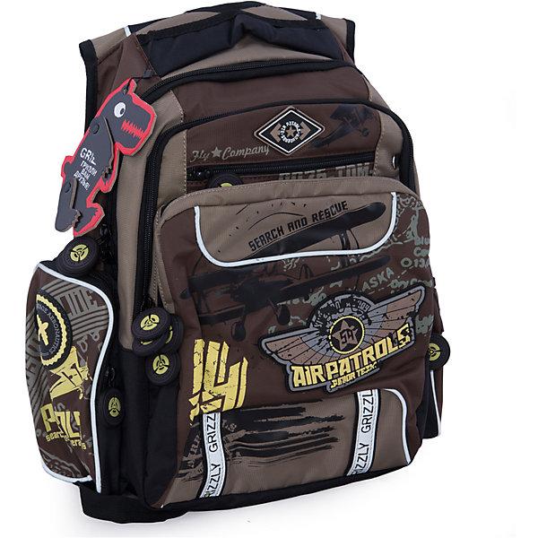 Рюкзак школьный Grizzly, коричневыйРюкзаки<br>Школьный рюкзак, коричневый, Grizzly (Гризли) ? рюкзак отечественного бренда Гризли школьной серии.  Рюкзак  выполнен из нейлона высокого качества, что обеспечивает, с одной стороны, легкий вес, а с другой ? надежность и прочность. Все швы выполнены капроновыми нитками, что делает швы особенно крепкими и устойчивыми к износу даже в течение нескольких лет. <br>Внутреннее устройство рюкзака состоит из двух вместительных отсеков, внутреннего кармана-пенала для карандашей и кармана на молнии. Также имеется откидное дно, что увеличивает устойчивость рюкзака. На передней стенке имеются 2 кармана, застегивающихся на молнию. Удобство и эргономичность рюкзака создается за счет жесткой анатомической спинки, укрепленных лямок и мягкой укрепленной ручки. С четырех сторон рюкзака имеются светоотражающие элементы. Уникальность рюкзаков Grizzly заключается в том, что анатомическая спинка изготовлена из специальной ткани, которая пропускает воздух, тем самым защищает спину от повышенного потоотделения.<br>Все рюкзаки школьной серии Grizzly (Гризли) имеют оригинальный современный дизайн. Школьный рюкзак, коричневый, Grizzly (Гризли) выполнен в коричневом цвете с яркими элементами. Передний карман украшен большой яркой аппликацией, изображающей самолет.<br>Школьный рюкзак, коричневый, Grizzly (Гризли) ? это качество материалов, удобство, стиль и долговечность использования. <br><br>Дополнительная информация:<br><br>- Вес: 1 кг<br>- Габариты (Д*Г*В): 27*24*43 см<br>- Цвет: коричневый<br>- Материал: полиэстер <br>- Сезон: круглый год<br>- Коллекция: школьная <br>- Год коллекции: 2016 <br>- Пол: мужской<br>- Предназначение: для школы<br>- Особенности ухода: можно чистить влажной щеткой или губкой, допускается ручная стирка<br><br>Подробнее:<br><br>• Для школьников в возрасте: от 6 лет и до 10 лет<br>• Страна производитель: Россия<br>• Торговый бренд: Grizzly<br><br>Школьный рюкзак, коричневый, Grizzly (Гризли) можно купить в нашем интернет-м