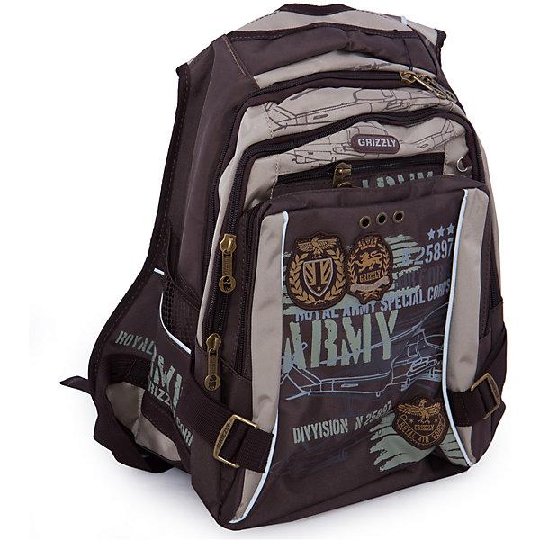 Рюкзак школьный Grizzly, коричнево-бежевый
