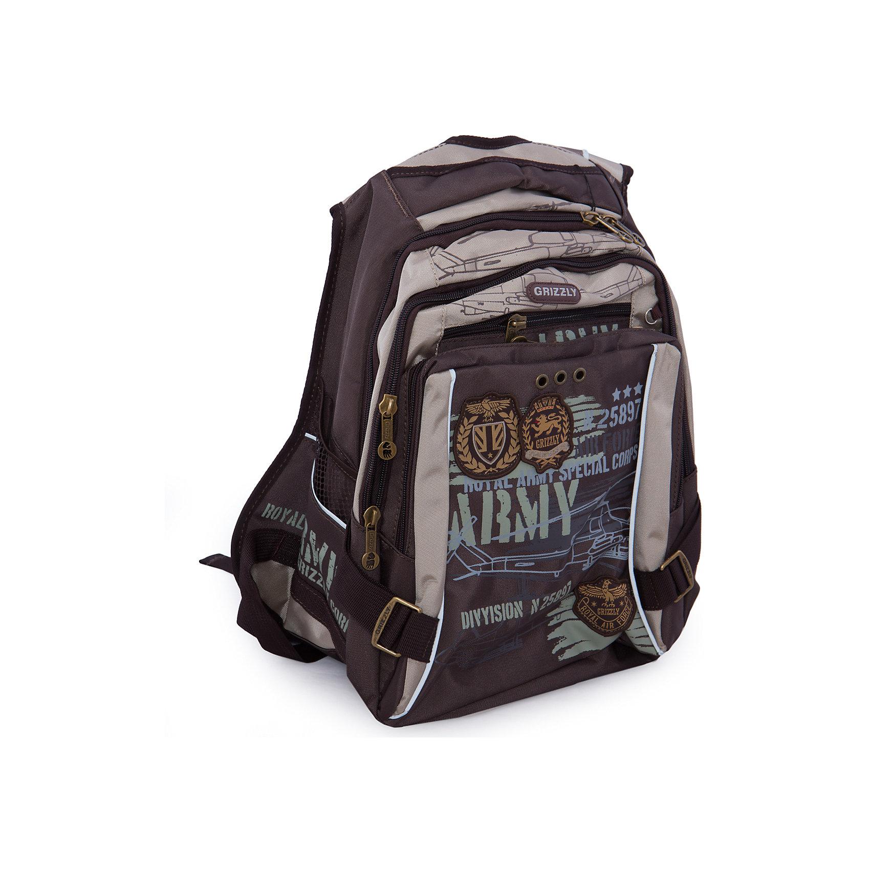 Рюкзак школьный Grizzly, коричнево-бежевыйРюкзаки<br>Школьный рюкзак, коричнево-бежевый, Grizzly (Гризли) ? рюкзак отечественного бренда Гризли школьной серии.  Рюкзак  выполнен из нейлона высокого качества, что обеспечивает, с одной стороны, легкий вес, а с другой ? надежность и прочность. Все швы выполнены капроновыми нитками, что делает швы особенно крепкими и устойчивыми к износу даже в течение нескольких лет. <br>Внутреннее устройство рюкзака состоит из двух вместительных отсеков, внутреннего кармана-пенала для карандашей и кармана на молнии. Также имеется откидное дно, что увеличивает устойчивость рюкзака. На передней стенке имеются 2 кармана, застегивающихся на молнию, по бокам – объемные карманы. Удобство и эргономичность рюкзака создается за счет жесткой анатомической спинки, укрепленных лямок и мягкой укрепленной ручки. С четырех сторон рюкзака имеются светоотражающие элементы. Уникальность рюкзаков Grizzly заключается в том, что анатомическая спинка изготовлена из специальной ткани, которая пропускает воздух, тем самым защищает спину от повышенного потоотделения.<br>Все рюкзаки школьной серии Grizzly (Гризли) имеют оригинальный современный дизайн. Школьный рюкзак, коричнево-бежевый, Grizzly (Гризли) выполнен в коричневом цвете с яркими элементами. Передний карман украшен большой яркой аппликацией, изображающей самолет.<br>Школьный рюкзак, коричнево-бежевый, Grizzly (Гризли) ? это качество материалов, удобство, стиль и долговечность использования. <br><br>Дополнительная информация:<br><br>- Вес: 1 кг 100 г<br>- Габариты (Д*Г*В): 27*24*43 см<br>- Цвет: коричневый, бежевый<br>- Материал: полиэстер <br>- Сезон: круглый год<br>- Коллекция: школьная <br>- Год коллекции: 2016 <br>- Пол: мужской<br>- Предназначение: для школы<br>- Особенности ухода: можно чистить влажной щеткой или губкой, допускается ручная стирка<br><br>Подробнее:<br><br>• Для школьников в возрасте: от 6 лет и до 10 лет<br>• Страна производитель: Россия<br>• Торговый бренд: Grizzly<br><br>Школь