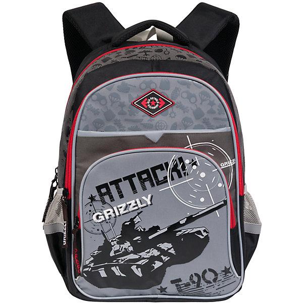 Рюкзак школьный Grizzly, черно-серыйДетские рюкзаки<br>Школьный рюкзак, черно-серый, Grizzly (Гризли) ? рюкзак отечественного бренда Гризли школьной серии.  Рюкзак  выполнен из нейлона высокого качества, что обеспечивает, с одной стороны, легкий вес, а с другой ? надежность и прочность. Все швы выполнены капроновыми нитками, что делает швы особенно крепкими и устойчивыми к износу даже в течение нескольких лет. <br>Внутреннее устройство рюкзака состоит из двух вместительных отсеков, внутреннего составного пенала-органайзера и подвесного кармана на молнии. Также имеется откидное дно, что увеличивает устойчивость рюкзака. На передней стенке имеются 2 кармана, застегивающихся на молнию, по бокам – карманы из сетки. Удобство и эргономичность рюкзака создается за счет жесткой анатомической спинки, укрепленных лямок и мягкой укрепленной ручки, имеется дополнительная ручка-петля. С четырех сторон рюкзака имеются светоотражающие элементы. Уникальность рюкзаков Grizzly заключается в том, что анатомическая спинка изготовлена из специальной ткани, которая пропускает воздух, тем самым защищает спину от повышенного потоотделения.<br>Все рюкзаки школьной серии Grizzly (Гризли) имеют оригинальный современный дизайн. Школьный рюкзак, черно-серый, Grizzly (Гризли) выполнен в сером цвете с яркими элементами. Передний карман украшен большой яркой аппликацией, изображающей танк.<br>Школьный рюкзак, черно-серый, Grizzly (Гризли) ? это качество материалов, удобство, стиль и долговечность использования. <br><br>Дополнительная информация:<br><br>- Вес: 900 г<br>- Габариты (Д*Г*В): 30*18*40 см<br>- Цвет: черный, оттенки серого<br>- Материал: полиэстер <br>- Сезон: круглый год<br>- Коллекция: школьная <br>- Год коллекции: 2016 <br>- Пол: мужской<br>- Предназначение: для школы<br>- Особенности ухода: можно чистить влажной щеткой или губкой, допускается ручная стирка<br><br>Подробнее:<br><br>• Для школьников в возрасте: от 6 лет и до 10 лет<br>• Страна производитель: Россия<br>• Торговый бренд: