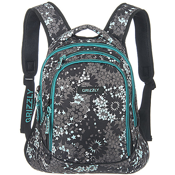 Рюкзак школьный Grizzly Звезды, серо-бирюзовый