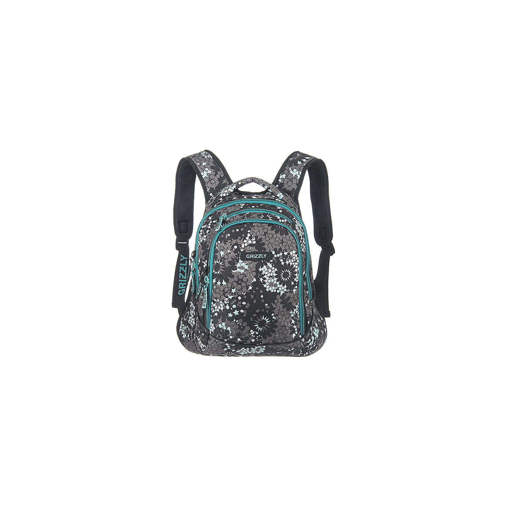 Рюкзак школьный Grizzly Звезды, серо-бирюзовыйРюкзаки<br>Рюкзак, Звезды, Grizzly (Гризли) ? рюкзак отечественного бренда Гризли молодежной серии. Рюкзак  выполнен из принтованного полиэстера в сочетании с нейлоном высокого качества, что обеспечивает, с одной стороны, легкий вес, а с другой ? надежность и прочность. Все швы выполнены капроновыми нитками, что делает швы особенно крепкими и устойчивыми к износу даже в течение нескольких лет. <br>Внутреннее устройство рюкзака состоит из двух вместительных отсеков, внутреннего кармана-пенала для хранения ручек и карандашей. В верхней части рюкзака имеется карман быстрого доступа на молнии. Удобство и эргономичность рюкзака создается за счет жесткой анатомической спинки, укрепленных лямок и мягкой укрепленной ручки. Уникальность рюкзаков Grizzly заключается в том, что анатомическая спинка изготовлена из специальной ткани, которая пропускает воздух, тем самым защищает спину от повышенного потоотделения.<br>Рюкзаки молодежной серии Grizzly (Гризли) ? это не только удобство и функциональность, это еще и оригинальный современный дизайн. Рюкзак, Звезды, Grizzly (Гризли) выполнен в классическом сочетании черного, белого и серого цветов.  Оригинальность и яркость рюкзаку придают элементы яркого бирюзового цвета: брендовые надписи и застежки-молнии.<br>Рюкзак, Звезды Grizzly (Гризли) ? это качество материалов, удобство, стиль и долговечность использования. <br><br>Дополнительная информация:<br><br>- Вес: 700 г<br>- Габариты (Д*Г*В): 32*20*42 см<br>- Цвет: серый, черный, белый, бирюзовый<br>- Материал: полиэстер, нейлон <br>- Сезон: круглый год<br>- Коллекция: молодежная <br>- Год коллекции: 2016 <br>- Пол: женский<br>- Предназначение: для школы, для занятий спортом<br>- Особенности ухода: можно чистить влажной щеткой или губкой, допускается ручная стирка<br><br>Подробнее:<br><br>• Для школьников в возрасте: от 8 лет и до 12 лет<br>• Страна производитель: Россия<br>• Торговый бренд: Grizzly<br><br>Рюкзак, Звезды Grizzly (Гризли) м