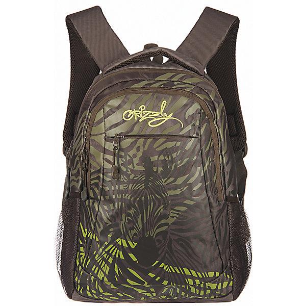 Рюкзак школьный Grizzly ХакиРюкзаки<br>Рюкзак, Хаки, Grizzly (Гризли) ? рюкзак отечественного бренда Гризли молодежной серии. Рюкзак  выполнен из принтованного полиэстера в сочетании с нейлоном высокого качества, что обеспечивает, с одной стороны, легкий вес, а с другой ? надежность и прочность. Все швы выполнены капроновыми нитками, что делает швы особенно крепкими и устойчивыми к износу даже в течение нескольких лет. <br>Внутреннее устройство рюкзака состоит из двух вместительных отсеков, внутреннего кармана-пенала для хранения ручек и карандашей. Наружные боковые карманы выполнены из сетки. Удобство и эргономичность рюкзака создается за счет жесткой анатомической спинки, укрепленных лямок и мягкой укрепленной ручки. Уникальность рюкзаков Grizzly заключается в том, что анатомическая спинка изготовлена из специальной ткани, которая пропускает воздух, тем самым защищает спину от повышенного потоотделения.<br>Рюкзаки молодежной серии Grizzly (Гризли) ? это не только удобство и функциональность, это еще и оригинальный современный дизайн. Рюкзак, Хаки, Grizzly (Гризли) выполнен в оригинальном дизайне: по всей поверхности рюкзака расположены волнистые линии, в центре просматривается силуэт зебры.<br>Рюкзак, Хаки Grizzly (Гризли) ? это качество материалов, удобство, стиль и долговечность использования. <br><br>Дополнительная информация:<br><br>- Вес: 600 г<br>- Габариты (Д*Г*В): 29*22*41 см<br>- Цвет: серо-бирюзовый<br>- Материал: полиэстер, нейлон <br>- Сезон: круглый год<br>- Коллекция: молодежная <br>- Год коллекции: 2016 <br>- Пол: женский/мужской<br>- Предназначение: для школы, для занятий спортом<br>- Особенности ухода: можно чистить влажной щеткой или губкой, допускается ручная стирка<br><br>Подробнее:<br><br>• Для школьников в возрасте: от 8 лет и до 12 лет<br>• Страна производитель: Россия<br>• Торговый бренд: Grizzly<br><br>Рюкзак, Хаки Grizzly (Гризли) можно купить в нашем интернет-магазине.<br>Ширина мм: 290; Глубина мм: 220; Высота мм: 410; Вес г: 600; Возра