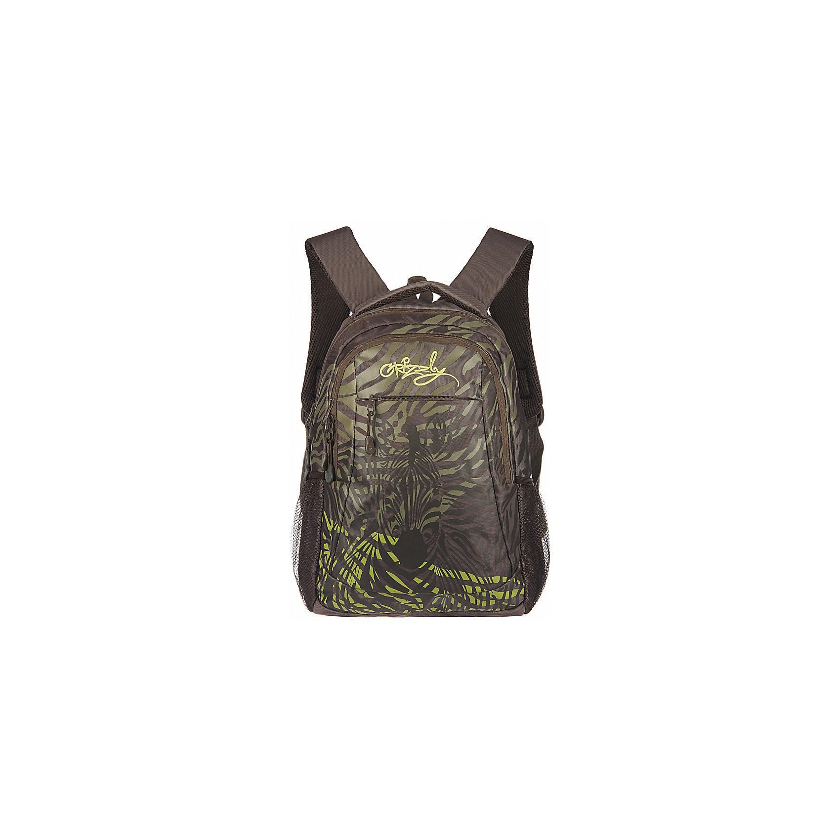 Grizzly Рюкзак школьный ХакиРюкзаки<br>Рюкзак, Хаки, Grizzly (Гризли) ? рюкзак отечественного бренда Гризли молодежной серии. Рюкзак  выполнен из принтованного полиэстера в сочетании с нейлоном высокого качества, что обеспечивает, с одной стороны, легкий вес, а с другой ? надежность и прочность. Все швы выполнены капроновыми нитками, что делает швы особенно крепкими и устойчивыми к износу даже в течение нескольких лет. <br>Внутреннее устройство рюкзака состоит из двух вместительных отсеков, внутреннего кармана-пенала для хранения ручек и карандашей. Наружные боковые карманы выполнены из сетки. Удобство и эргономичность рюкзака создается за счет жесткой анатомической спинки, укрепленных лямок и мягкой укрепленной ручки. Уникальность рюкзаков Grizzly заключается в том, что анатомическая спинка изготовлена из специальной ткани, которая пропускает воздух, тем самым защищает спину от повышенного потоотделения.<br>Рюкзаки молодежной серии Grizzly (Гризли) ? это не только удобство и функциональность, это еще и оригинальный современный дизайн. Рюкзак, Хаки, Grizzly (Гризли) выполнен в оригинальном дизайне: по всей поверхности рюкзака расположены волнистые линии, в центре просматривается силуэт зебры.<br>Рюкзак, Хаки Grizzly (Гризли) ? это качество материалов, удобство, стиль и долговечность использования. <br><br>Дополнительная информация:<br><br>- Вес: 600 г<br>- Габариты (Д*Г*В): 29*22*41 см<br>- Цвет: серо-бирюзовый<br>- Материал: полиэстер, нейлон <br>- Сезон: круглый год<br>- Коллекция: молодежная <br>- Год коллекции: 2016 <br>- Пол: женский/мужской<br>- Предназначение: для школы, для занятий спортом<br>- Особенности ухода: можно чистить влажной щеткой или губкой, допускается ручная стирка<br><br>Подробнее:<br><br>• Для школьников в возрасте: от 8 лет и до 12 лет<br>• Страна производитель: Россия<br>• Торговый бренд: Grizzly<br><br>Рюкзак, Хаки Grizzly (Гризли) можно купить в нашем интернет-магазине.<br><br>Ширина мм: 290<br>Глубина мм: 220<br>Высота мм: 410<br>Вес г: 