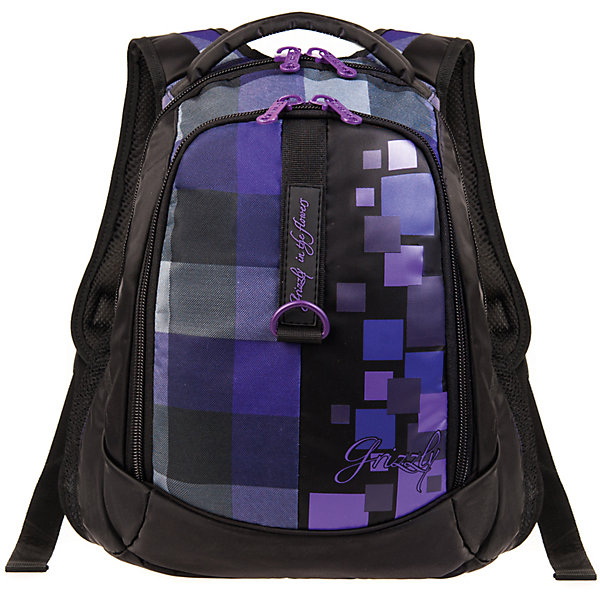 Рюкзак Grizzly Клетка, фиолетовыйРюкзаки<br>Рюкзак, Клетка, фиолетовый Grizzly (Гризли) ? рюкзак отечественного бренда Гризли молодежной серии. Рюкзак выполнен из полиэстера высокого качества, что обеспечивает легкий вес, но при этом надежность и прочность. Все швы выполнены капроновыми нитками, что делает швы особенно крепкими и устойчивыми к износу даже в течение нескольких лет. <br>Внутреннее устройство рюкзака состоит из двух вместительных отсеков, внутреннего кармана на молнии и кармана-пенала для хранения карандашей и ручек. Повышенная вместительность рюкзака обеспечивается боковыми карманами из сетки. <br>Удобство и эргономичность рюкзака создается за счет укрепленной спинки, укрепленных лямок и мягкой укрепленной ручки. Уникальность рюкзаков Grizzly заключается в том, что анатомическая спинка изготовлена из специальной ткани, которая пропускает воздух, тем самым защищает спину от повышенного потоотделения.<br>Рюкзаки молодежной серии Grizzly (Гризли) ? это не только удобство и функциональность, это еще и оригинальный современный дизайн. Рюкзак, Клетка, фиолетовый, Grizzly (Гризли) выполнен в классическом черном цвете с яркими фиолетовыми клетками, которые расположены на спереди, рисунок повторяется на лямках и спинке. <br>Рюкзак, Клетка, фиолетовый Grizzly (Гризли) ? это качество материалов, удобство и долговечность использования. <br><br>Дополнительная информация:<br><br>- Вес: 770 г<br>- Габариты (Д*Г*В): 31*20*42 см<br>- Цвет: черный, фиолетовый<br>- Материал: полиэстер <br>- Сезон: круглый год<br>- Коллекция: молодежная <br>- Год коллекции: 2016 <br>- Пол: мужской/женский<br>- Предназначение: для школы, для занятий спортом<br>- Особенности ухода: можно чистить влажной щеткой или губкой, допускается ручная стирка<br><br>Подробнее:<br><br>• Для школьников в возрасте: от 8 лет и до 12 лет<br>• Страна производитель: Россия<br>• Торговый бренд: Grizzly<br><br>Рюкзак, Клетка, фиолетовый, Grizzly (Гризли) можно купить в нашем интернет-магазине.<br><br>Ширина мм