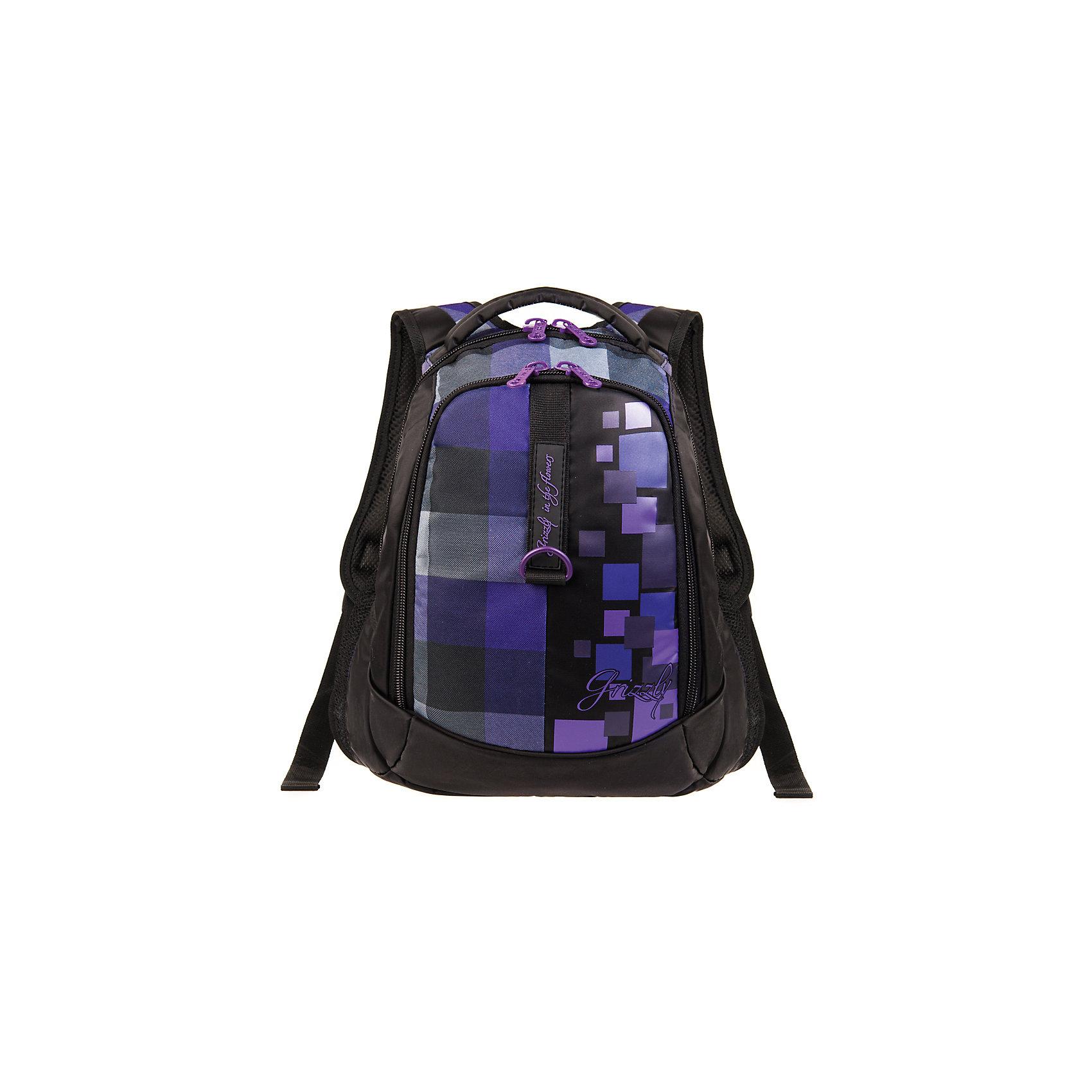 Grizzly Рюкзак Клетка, фиолетовыйРюкзаки<br>Рюкзак, Клетка, фиолетовый Grizzly (Гризли) ? рюкзак отечественного бренда Гризли молодежной серии. Рюкзак выполнен из полиэстера высокого качества, что обеспечивает легкий вес, но при этом надежность и прочность. Все швы выполнены капроновыми нитками, что делает швы особенно крепкими и устойчивыми к износу даже в течение нескольких лет. <br>Внутреннее устройство рюкзака состоит из двух вместительных отсеков, внутреннего кармана на молнии и кармана-пенала для хранения карандашей и ручек. Повышенная вместительность рюкзака обеспечивается боковыми карманами из сетки. <br>Удобство и эргономичность рюкзака создается за счет укрепленной спинки, укрепленных лямок и мягкой укрепленной ручки. Уникальность рюкзаков Grizzly заключается в том, что анатомическая спинка изготовлена из специальной ткани, которая пропускает воздух, тем самым защищает спину от повышенного потоотделения.<br>Рюкзаки молодежной серии Grizzly (Гризли) ? это не только удобство и функциональность, это еще и оригинальный современный дизайн. Рюкзак, Клетка, фиолетовый, Grizzly (Гризли) выполнен в классическом черном цвете с яркими фиолетовыми клетками, которые расположены на спереди, рисунок повторяется на лямках и спинке. <br>Рюкзак, Клетка, фиолетовый Grizzly (Гризли) ? это качество материалов, удобство и долговечность использования. <br><br>Дополнительная информация:<br><br>- Вес: 770 г<br>- Габариты (Д*Г*В): 31*20*42 см<br>- Цвет: черный, фиолетовый<br>- Материал: полиэстер <br>- Сезон: круглый год<br>- Коллекция: молодежная <br>- Год коллекции: 2016 <br>- Пол: мужской/женский<br>- Предназначение: для школы, для занятий спортом<br>- Особенности ухода: можно чистить влажной щеткой или губкой, допускается ручная стирка<br><br>Подробнее:<br><br>• Для школьников в возрасте: от 8 лет и до 12 лет<br>• Страна производитель: Россия<br>• Торговый бренд: Grizzly<br><br>Рюкзак, Клетка, фиолетовый, Grizzly (Гризли) можно купить в нашем интернет-магазине.<br><br>Ширина мм