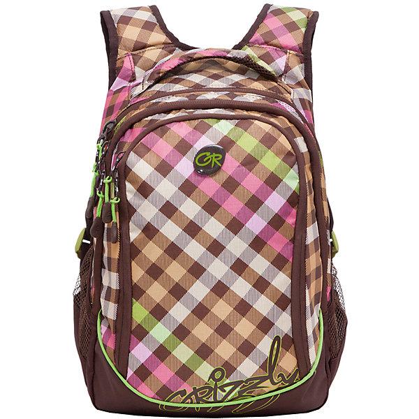 Рюкзак школьный Grizzly, коричнево-салатовыйРюкзаки<br>Рюкзак, коричнево-салатовый, Grizzly (Гризли) ? рюкзак отечественного бренда Гризли молодежной серии. Рюкзак выполнен из принтованного полиэстера в сочетании с нейлоном высокого качества, что обеспечивает легкий вес, но при этом надежность и прочность. Все швы выполнены капроновыми нитками, что делает швы особенно крепкими и устойчивыми к износу даже в течение нескольких лет. <br>Внутреннее устройство рюкзака состоит из трех отсеков, внутреннего кармана на молнии и составного кармана-пенала для хранения карандашей и ручек. Повышенная вместительность рюкзака обеспечивается боковыми карманами из сетки. Удобство и эргономичность рюкзака создается за счет укрепленной спинки и лямок, а также благодаря мягкой укрепленной ручке. Уникальность рюкзаков Grizzly заключается в том, что анатомическая спинка изготовлена из специальной ткани, которая пропускает воздух, тем самым защищает спину от повышенного потоотделения. Лямки регулируются под рост школьника.<br>Рюкзаки молодежной серии Grizzly (Гризли) ? это не только удобство и функциональность, это еще и оригинальный современный дизайн. Рюкзак, коричнево-салатовый, Grizzly (Гризли) выполнен в оригинальной яркой расцветке с геометрическими элементами-квадратами, которые расположены спереди, рисунок повторяется на лямках и спинке. <br>Рюкзак, коричнево-салатовый, Grizzly (Гризли) ? это качество материалов, удобство и долговечность использования. <br><br>Дополнительная информация:<br><br>- Вес: 718 г<br>- Габариты (Д*Г*В): 29*19*40 см<br>- Цвет: коричневый, салатовый, розовый<br>- Материал: полиэстер, нейлон <br>- Сезон: круглый год<br>- Коллекция: молодежная <br>- Год коллекции: 2016 <br>- Пол: женский<br>- Предназначение: для школы, для занятий спортом<br>- Особенности ухода: можно чистить влажной щеткой или губкой, допускается ручная стирка<br><br>Подробнее:<br><br>• Для школьников в возрасте: от 8 лет и до 12 лет<br>• Страна производитель: Россия<br>• Торговый бренд: Gri