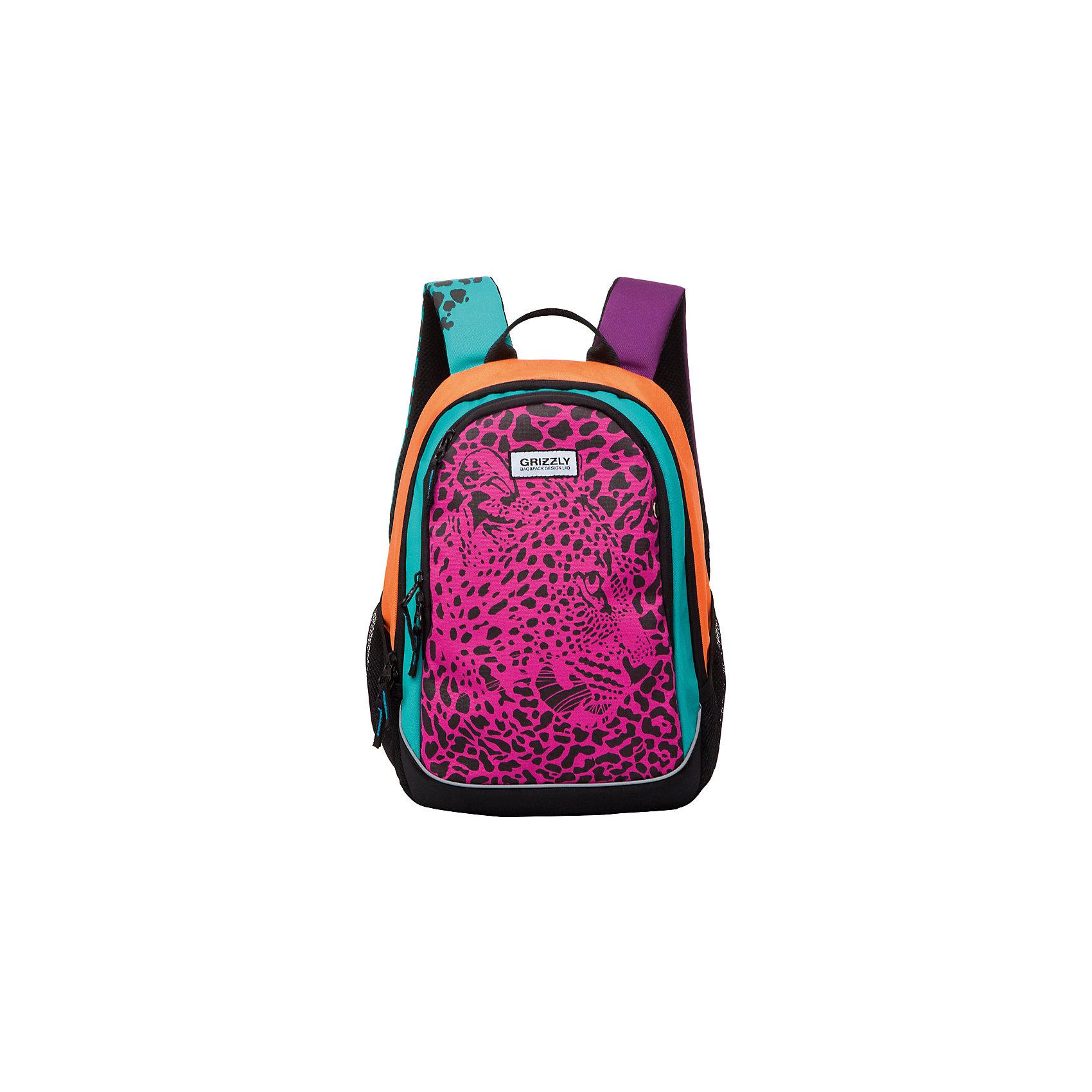 Grizzly Рюкзак школьный ЛеопардРюкзаки<br>Рюкзак Леопард, Grizzly (Гризли) ? рюкзак отечественного бренда Гризли молодежной серии. Рюкзак выполнен из принтованного полиэстера в сочетании с нейлоном высокого качества, что обеспечивает легкий вес, но при этом надежность и прочность. Все швы выполнены капроновыми нитками, что делает швы особенно крепкими и устойчивыми к износу даже в течение нескольких лет. <br>Внутреннее устройство рюкзака состоит из двух отсеков, внутреннего подвесного кармана, кармана на молнии и составного пенала-органайзера для хранения канцелярских принадлежностей. Повышенная вместительность рюкзака обеспечивается боковыми карманами из сетки и передним карманом на молнии. Удобство и эргономичность рюкзака создается за счет укрепленной спинки и лямок, а также благодаря мягкой укрепленной ручке. На задней стенке имеется карман быстрого доступа. Уникальность рюкзаков Grizzly заключается в том, что анатомическая спинка изготовлена из специальной ткани, которая пропускает воздух, тем самым защищает спину от повышенного потоотделения. Лямки регулируются под рост школьника.<br>Рюкзаки молодежной серии Grizzly (Гризли) ? это не только удобство и функциональность, это еще и оригинальный современный дизайн. Рюкзак Леопард, Grizzly (Гризли) выполнен оригинальном дизайнерском решении: классический рисунок леопарда представлен в ярких цветах. <br>Рюкзак Леопард, Grizzly (Гризли) ? это качество материалов, удобство и долговечность использования. <br><br>Дополнительная информация:<br><br>- Вес: 690 г<br>- Габариты (Д*Г*В): 29*20*40 см<br>- Цвет: черный, розовый, оранжевый, бирюзовый<br>- Материал: полиэстер, нейлон <br>- Сезон: круглый год<br>- Коллекция: молодежная <br>- Год коллекции: 2016 <br>- Пол: женский<br>- Предназначение: для школы, для занятий спортом<br>- Особенности ухода: можно чистить влажной щеткой или губкой, допускается ручная стирка<br><br>Подробнее:<br><br>• Для школьников в возрасте: от 8 лет и до 12 лет<br>• Страна производитель: Россия<br>