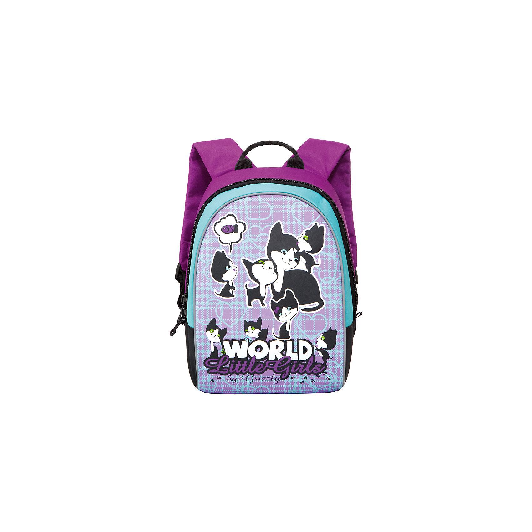 Рюкзак школьный Grizzly , фиолетово-бирюзовыйРюкзаки<br>Школьный рюкзак, фиолетово-бирюзовый, Grizzly (Гризли) ? рюкзак отечественного бренда Гризли школьной серии.  Рюкзак  выполнен из нейлона высокого качества, что обеспечивает, с одной стороны, легкий вес, а с другой ? надежность и прочность. Все швы выполнены капроновыми нитками, что делает швы особенно крепкими и устойчивыми к износу даже в течение нескольких лет. <br>Внутреннее устройство рюкзака состоит одного отсека и внутреннего кармана. Удобство и эргономичность рюкзака создается за счет укрепленной спинки, укрепленных лямок и мягкой ручки. С четырех сторон рюкзака имеются светоотражающие элементы. Уникальность рюкзаков Grizzly заключается в том, что анатомическая спинка изготовлена из специальной ткани, которая пропускает воздух, тем самым защищает спину от повышенного потоотделения.<br>Все рюкзаки школьной серии Grizzly (Гризли) имеют оригинальный современный дизайн. Школьный рюкзак, фиолетово-бирюзовый, Grizzly (Гризли) выполнен в ярких цветах. Передний карман украшен большой яркой аппликацией, изображающей кошку с котятами.<br>Школьный рюкзак, фиолетово-бирюзовый, Grizzly (Гризли) ? это качество материалов, удобство, стиль и долговечность использования. <br><br>Дополнительная информация:<br><br>- Вес: 388 г<br>- Габариты (Д*Г*В): 27*16*35 см<br>- Цвет: фиолетовый, бирюзовый<br>- Материал: нейлон <br>- Сезон: круглый год<br>- Коллекция: школьная <br>- Год коллекции: 2016 <br>- Пол: женский<br>- Предназначение: для школы<br>- Особенности ухода: можно чистить влажной щеткой или губкой, допускается ручная стирка<br><br>Подробнее:<br><br>• Для школьников в возрасте: от 6 лет и до 10 лет<br>• Страна производитель: Китай<br>• Торговый бренд: Grizzly<br><br>Школьный рюкзак, фиолетово-бирюзовый, Grizzly (Гризли) можно купить в нашем интернет-магазине.<br><br>Ширина мм: 270<br>Глубина мм: 160<br>Высота мм: 350<br>Вес г: 388<br>Возраст от месяцев: 72<br>Возраст до месяцев: 96<br>Пол: Женский<br>Возраст: Детский<b