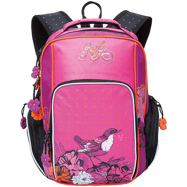 Рюкзак школьный Grizzly, черно-розовыйРюкзаки<br>Школьный рюкзак, черно-розовый, Grizzly (Гризли) ? рюкзак отечественного бренда Гризли школьной серии.  Рюкзак  выполнен из нейлона высокого качества, что обеспечивает, с одной стороны, легкий вес, а с другой ? надежность и прочность. Все швы выполнены капроновыми нитками, что делает швы особенно крепкими и устойчивыми к износу даже в течение нескольких лет. <br>Внутреннее устройство рюкзака состоит из двух вместительных отсеков, внутреннего подвесного кармана и кармана на молнии. Также имеется откидное дно, что увеличивает устойчивость рюкзака. На передней стенке имеется объемный карман, застегивающийся на молнию, по бокам – объемные карманы с застежкой-молнией. Удобство и эргономичность рюкзака создается за счет жесткой анатомической спинки, укрепленных лямок и мягкой укрепленной ручки. С четырех сторон рюкзака имеются светоотражающие элементы. Уникальность рюкзаков Grizzly заключается в том, что анатомическая спинка изготовлена из специальной ткани, которая пропускает воздух, тем самым защищает спину от повышенного потоотделения.<br>Все рюкзаки школьной серии Grizzly (Гризли) имеют оригинальный современный дизайн. Школьный рюкзак, черно-розовый, Grizzly (Гризли) выполнен в розовом цвете. Передний карман украшен большой яркой аппликацией, изображающей птичку и цветы.<br>Школьный рюкзак, черно-розовый, Grizzly (Гризли) ? это качество материалов, удобство, стиль и долговечность использования. <br><br>Дополнительная информация:<br><br>- Вес: 873 г<br>- Габариты (Д*Г*В): 27*19*38 см<br>- Цвет: черный,розовый, белый, оранжевый<br>- Материал: нейлон <br>- Сезон: круглый год<br>- Коллекция: школьная <br>- Год коллекции: 2016 <br>- Пол: женский<br>- Предназначение: для школы<br>- Особенности ухода: можно чистить влажной щеткой или губкой, допускается ручная стирка<br><br>Подробнее:<br><br>• Для школьников в возрасте: от 6 лет и до 10 лет<br>• Страна производитель: Китай<br>• Торговый бренд: Grizzly<br><br>Школьный рюкзак, ч