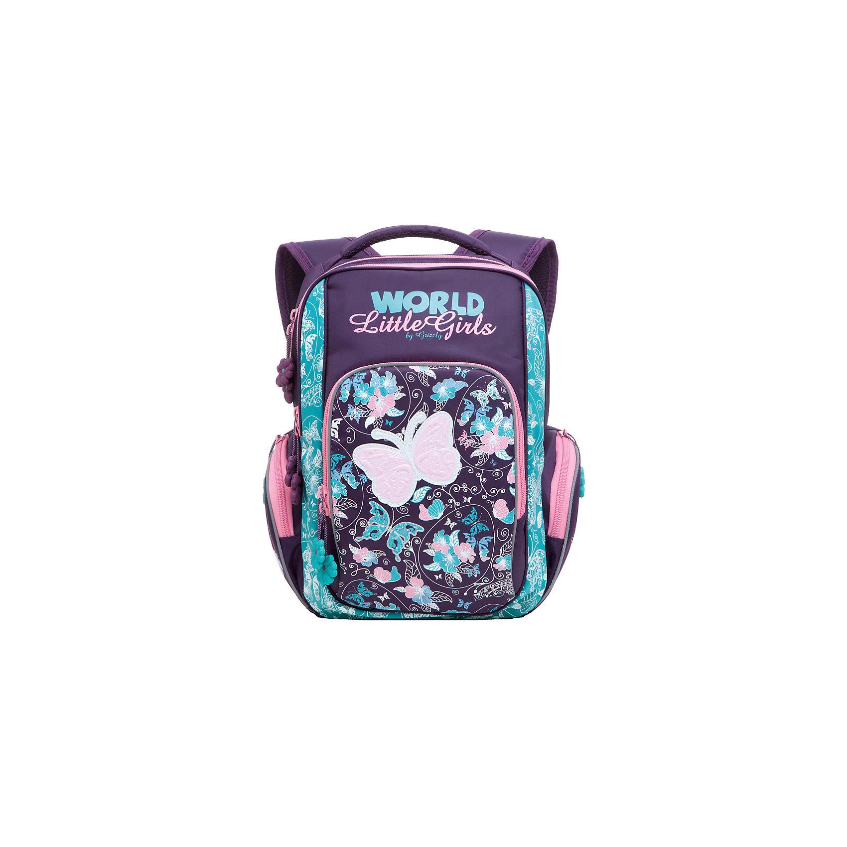 Школьный рюкзак, бирюзово-фиолетовыйШкольный рюкзак, бирюзово-фиолетовый, Grizzly (Гризли) ? рюкзак отечественного бренда Гризли школьной серии.  Рюкзак  выполнен из нейлона высокого качества, что обеспечивает, с одной стороны, легкий вес, а с другой ? надежность и прочность. Все швы выполнены капроновыми нитками, что делает швы особенно крепкими и устойчивыми к износу даже в течение нескольких лет. <br>Внутреннее устройство рюкзака состоит из двух вместительных отсеков, внутреннего подвесного кармана и кармана на молнии. Также имеется откидное дно, что увеличивает устойчивость рюкзака. На передней стенке имеется объемный карман, застегивающийся на молнию, по бокам – объемные карманы с застежкой-молнией. Удобство и эргономичность рюкзака создается за счет жесткой анатомической спинки, укрепленных лямок и мягкой укрепленной ручки. С четырех сторон рюкзака имеются светоотражающие элементы. Уникальность рюкзаков Grizzly заключается в том, что анатомическая спинка изготовлена из специальной ткани, которая пропускает воздух, тем самым защищает спину от повышенного потоотделения.<br>Все рюкзаки школьной серии Grizzly (Гризли) имеют оригинальный современный дизайн. Школьный рюкзак, бирюзово-фиолетовый, Grizzly (Гризли) выполнен в насыщенном фиолетовом цвете. Передний карман украшен большой яркой аппликацией с бирюзовыми и розовыми цветами.<br>Школьный рюкзак, бирюзово-фиолетовый, Grizzly (Гризли) ? это качество материалов, удобство, стиль и долговечность использования. <br><br>Дополнительная информация:<br><br>- Вес: 870 г<br>- Габариты (Д*Г*В): 27*19*38 см<br>- Цвет: бирюзовый, розовый, фиолетовый<br>- Материал: нейлон <br>- Сезон: круглый год<br>- Коллекция: школьная <br>- Год коллекции: 2016 <br>- Пол: женский<br>- Предназначение: для школы<br>- Особенности ухода: можно чистить влажной щеткой или губкой, допускается ручная стирка<br><br>Подробнее:<br><br>• Для школьников в возрасте: от 6 лет и до 10 лет<br>• Страна производитель: Китай<br>• Торговый бренд: Grizzly<br><b