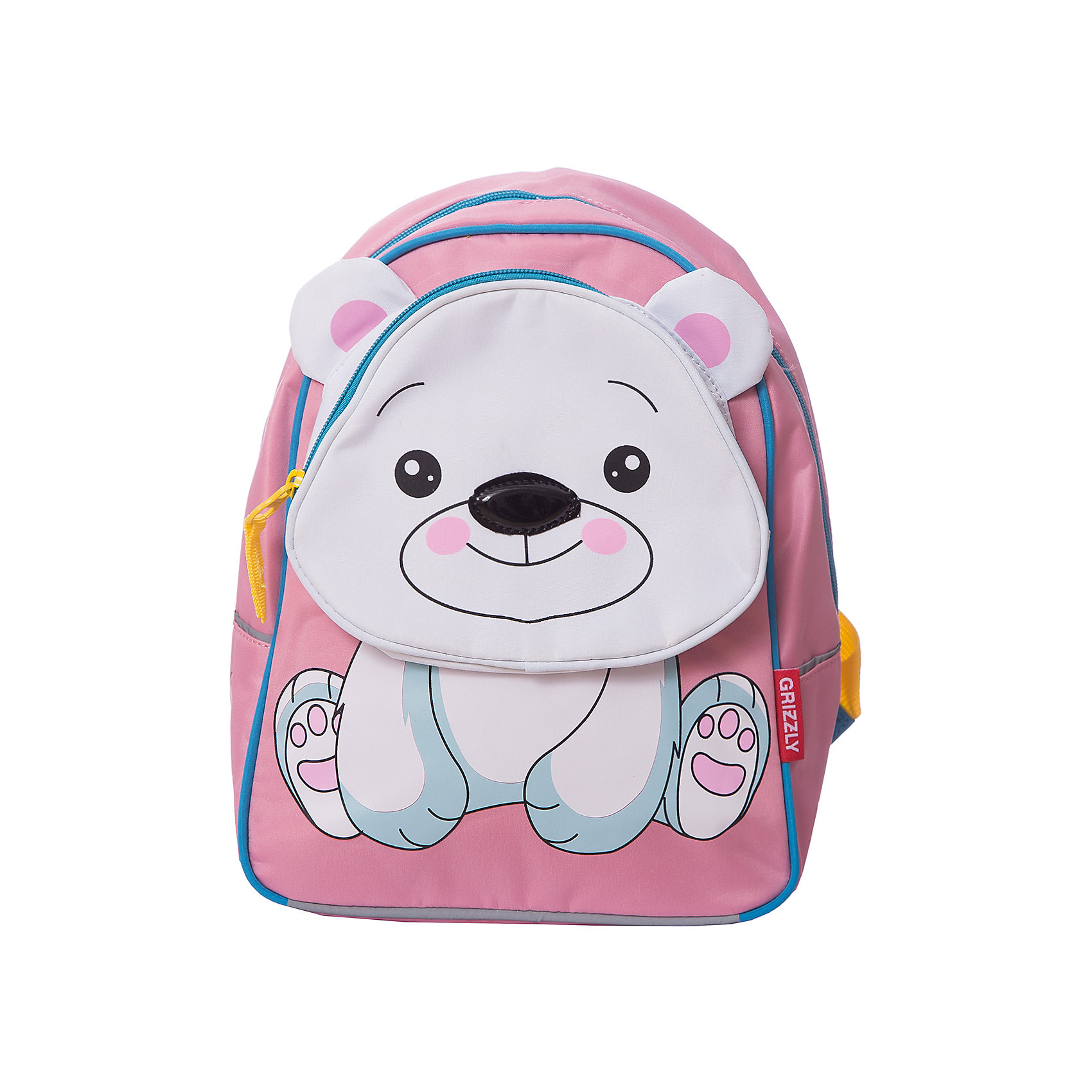 Grizzly Рюкзак детский МедведьДетские рюкзаки<br>Детский рюкзак, Медведь, Grizzly (Гризли) ? рюкзак отечественного бренда Гризли детской серии. Легкий по весу, прочный, рюкзак учитывает все анатомические и возрастные особенности детей дошкольного возраста. Все рюкзаки детской серии ортопедические, с укрепленной спинкой и широкими регулируемыми под рост ребенка лямками, что защищает от развития искривления позвоночника.<br>Детский рюкзак, Медведь, Grizzly (Гризли) изготовлен из микрофибры, отличительными свойствами которой является способность сохранять форму, устойчивость к загрязнениям и повреждениям. За рюкзаком из микрофибры легко ухаживать: его можно стирать, он быстро высыхает, при частых стирках не теряет форму и цвет.<br>Детские рюкзаки Grizzly (Гризли) отличаются ярким дизайном, оригинальными цветовыми решениями как самого рюкзака, так и его  элементов: декоративные застежки-молнии, швы, выполненные цветными капроновыми нитками, обеспечивают качество и надежность эксплуатации.<br>Все рюкзаки детской серии многофункциональны и удобны: их можно брать с собой на прогулку, на спортивные и творческие занятия. Детям, которые готовятся к школе, рюкзак станет обязательным атрибутом подготовки к школьной жизни.<br>Детский рюкзак, Медведь, Grizzly (Гризли) состоит из одного вместительного отделения и внутреннего кармана, на передней стенке имеется объемный карман на молнии. Для обеспечения безопасности передвижения ребенка в темное время суток рюкзак с четырех сторон оснащен светоотражающими элементами. Передний карман - в форме забавного медвежонка. Детский рюкзак, Медведь, Grizzly (Гризли) ? это качество материалов, безопасность, стиль и долговечность. <br><br><br>Дополнительная информация:<br><br>- Вес: 340 г<br>- Габариты (Д*Г*В): 24*12*30 см<br>- Цвет: оранжевый, зеленый, черный, белый<br>- Материал: микрофибра <br>- Сезон: круглый год<br>- Коллекция: детская <br>- Год коллекции: 2016 <br>- Пол: девочки/мальчики<br>- Предназначение: для прогулок, для посещения сп